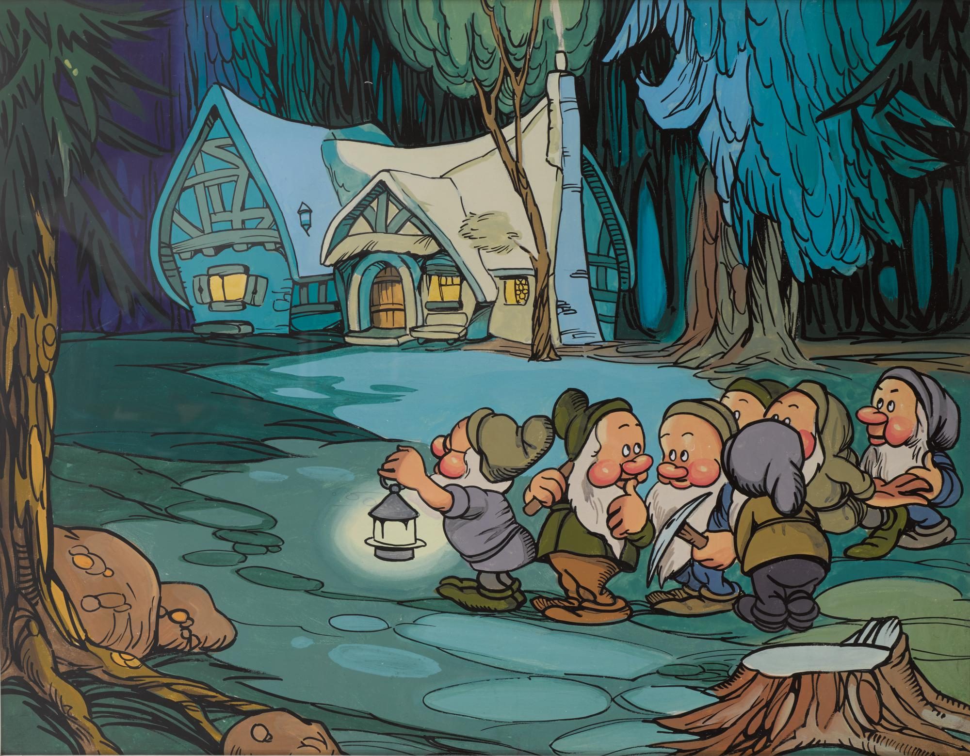Snow White And The Seven Dwarfs 1937 Original Artwork Dwarfs Outside Cottage At Night British Original Film Posters Online Collectibles Sotheby S
