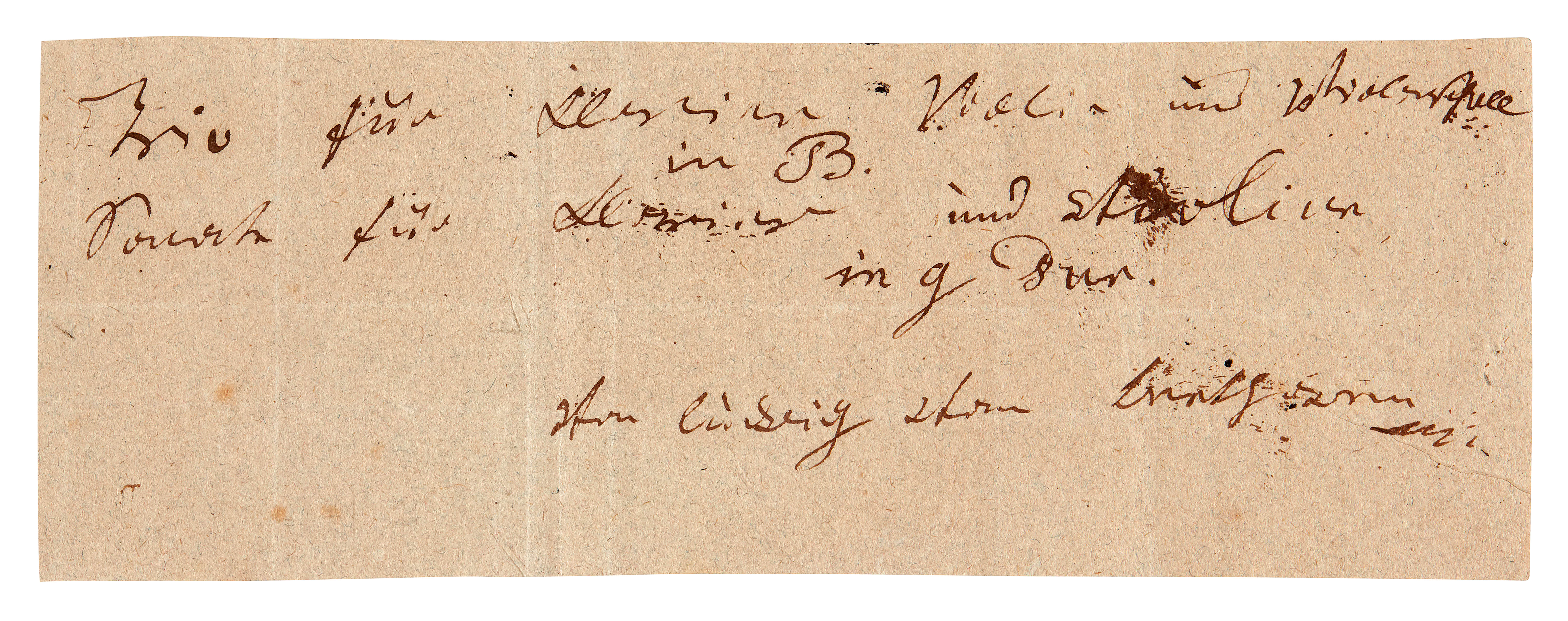 """View full screen - View 1 of Lot 7. L v Beethoven, unpublished autograph note signed about the """"Archduke"""" Trio and his final violin sonata, [1813-1815]."""