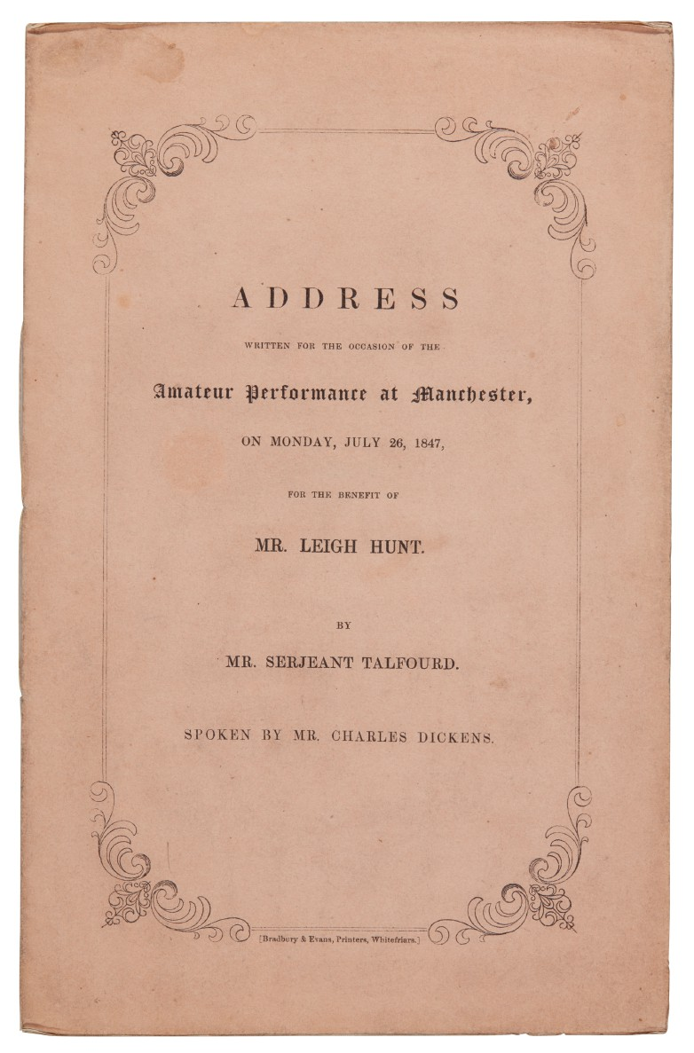 [Dickens]--Talfourd, Address written for the occasion of the amateur performance at Manchester, 1847
