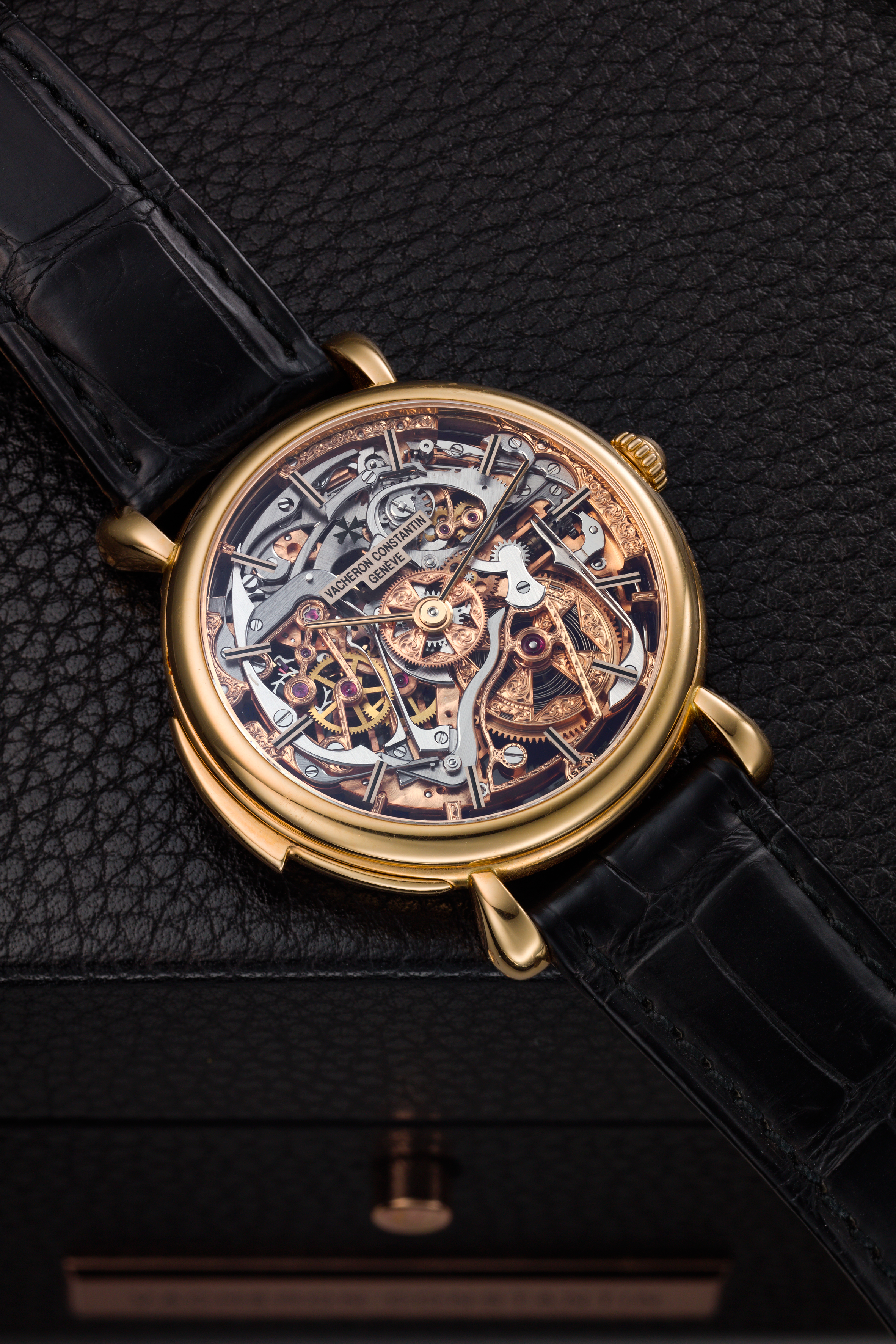 View full screen - View 1 of Lot 182. REFERENCE 30030 A PINK GOLD SKELETONIZED MINUTE REPEATING WRISTWATCH, CIRCA 1995.