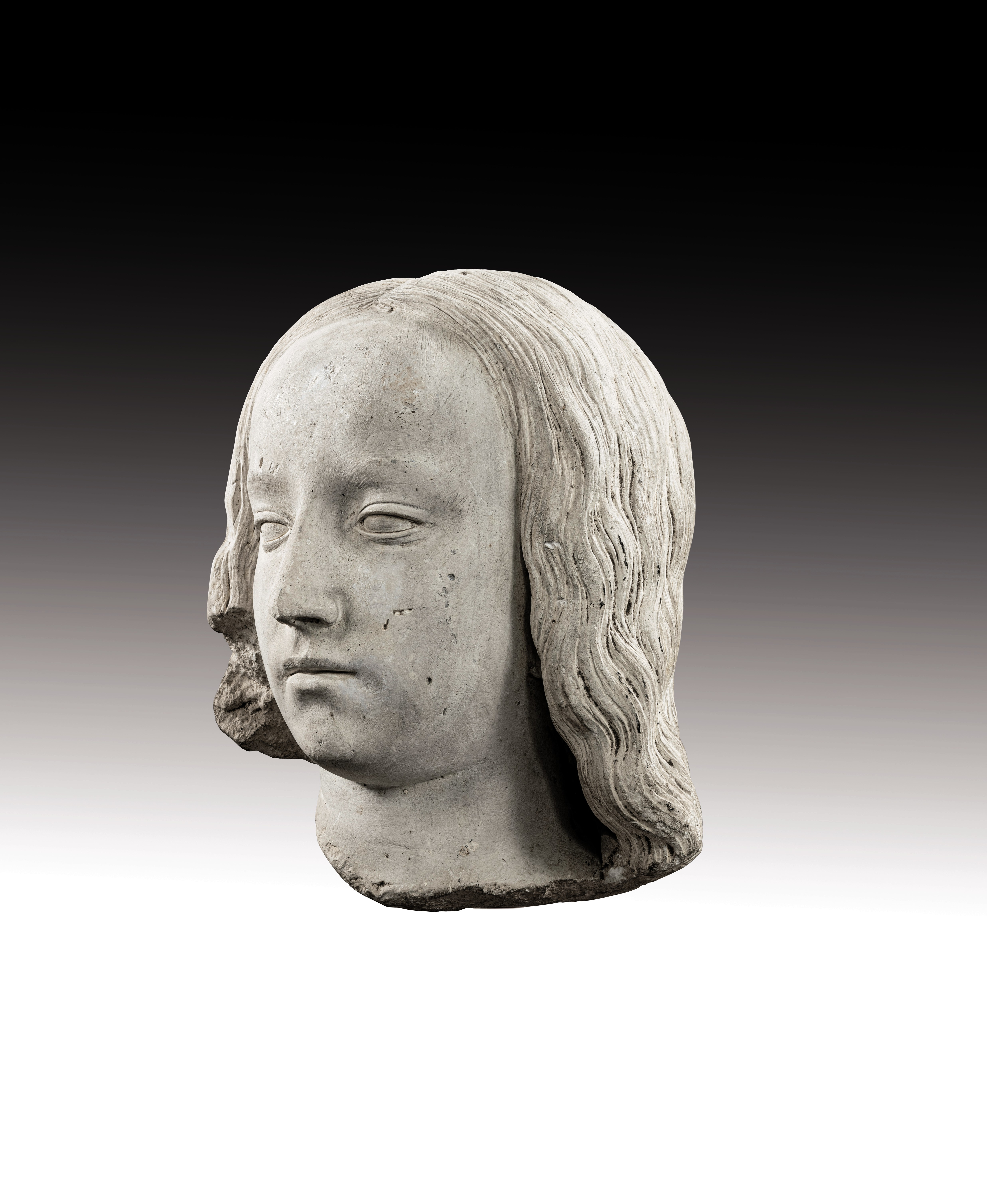 View full screen - View 1 of Lot 9. CIRCLE OF JEAN GUILHOMET, KNOWN AS JEAN DE CHARTRES  |  HEAD OF A YOUNG GIRL.