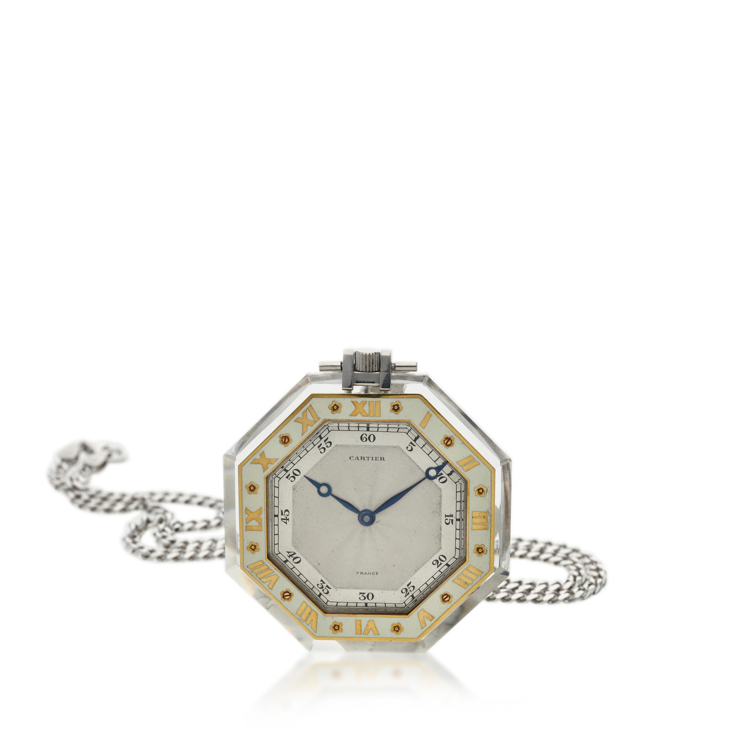 View full screen - View 1 of Lot 396. A rock crystal, platinum, yellow gold and enamel open faced watch, Circa 1925 .
