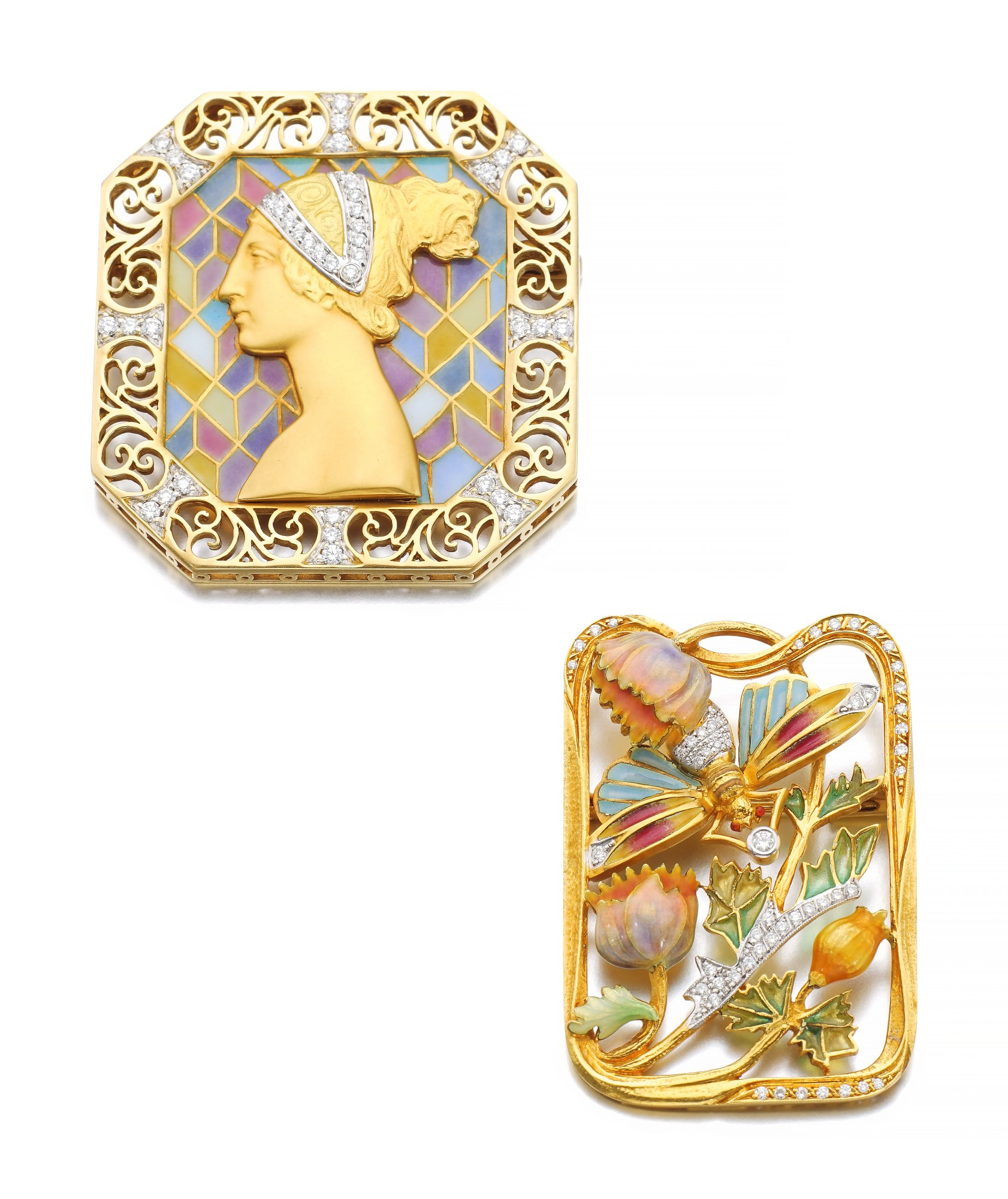 TWO ENAMEL AND DIAMOND BROOCHES | MASRIERA