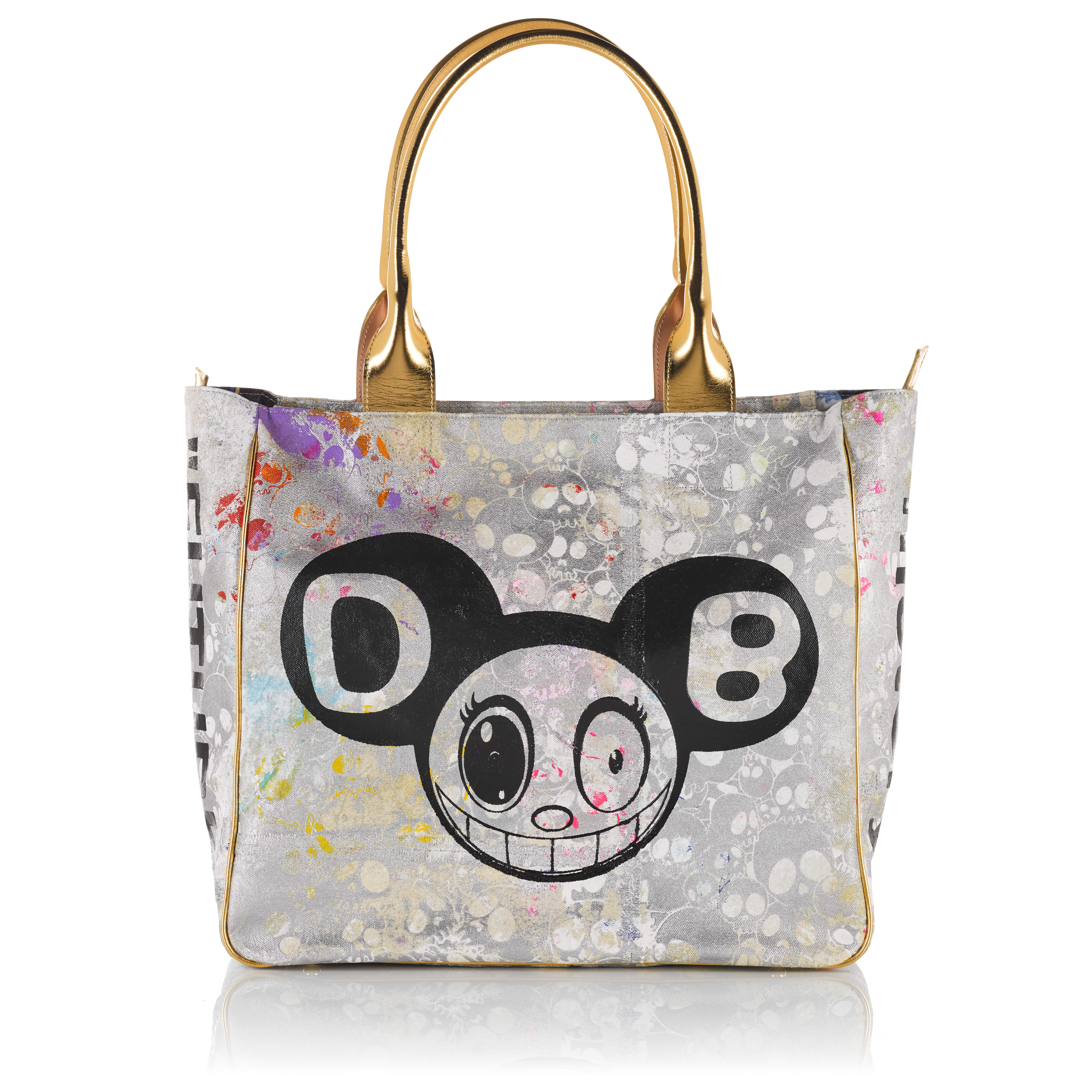 View full screen - View 1 of Lot 3. Gold and Black Tote Bag in Canvas and Leather, 2018, signed by Murakami and Abloh.