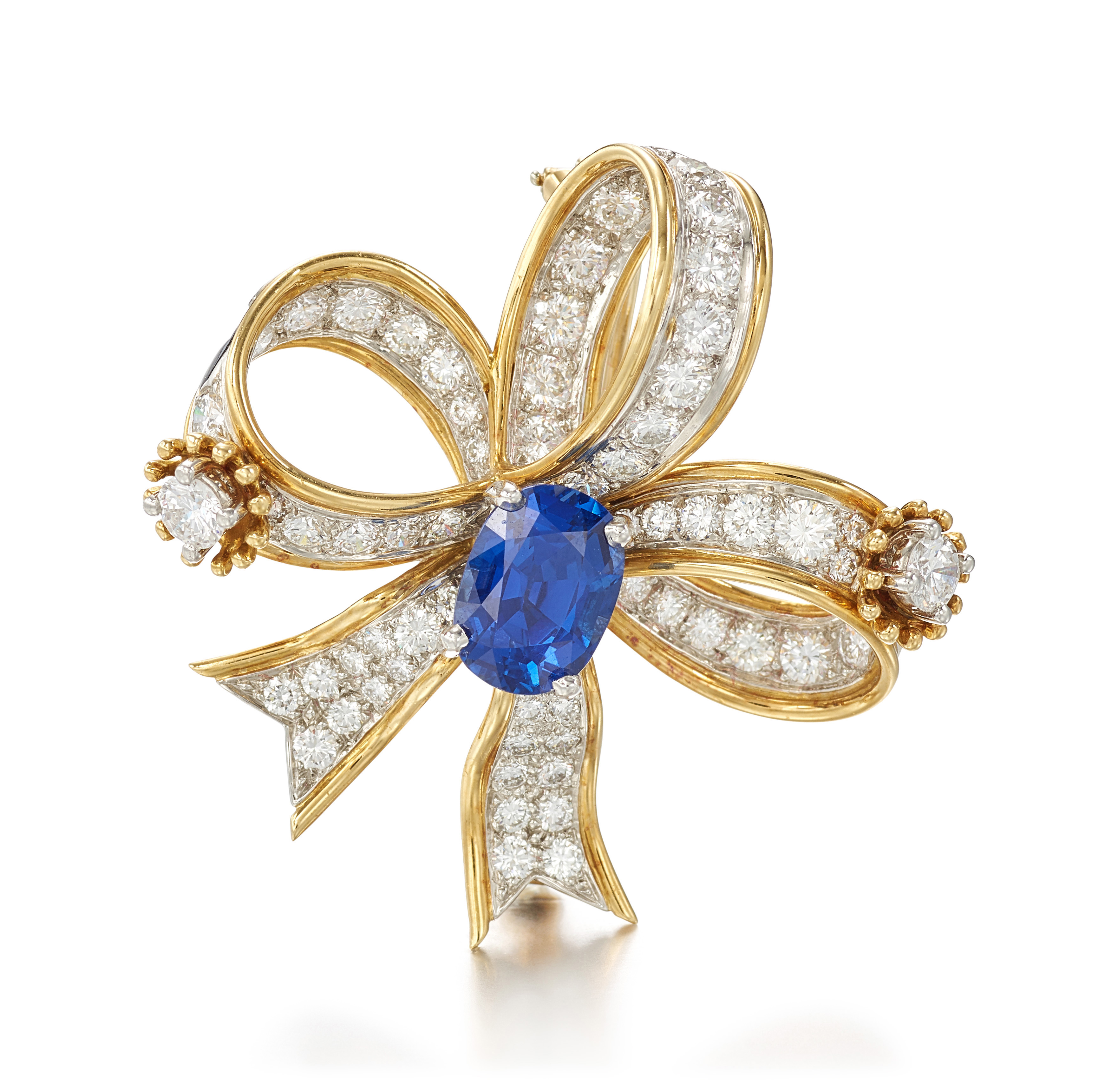 View full screen - View 1 of Lot 9125. SAPPHIRE AND DIAMOND BROOCH, SCHLUMBERGER FOR TIFFANY & CO. | 藍寶石 配 鑽石 別針, Schlumberger for Tiffany & Co..