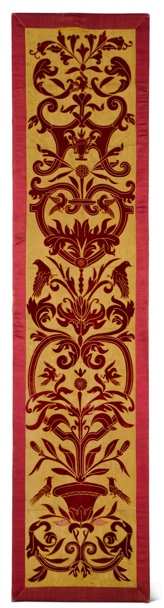 View full screen - View 1 of Lot 140. AN APPLIQUÉ PANEL OF RED VELVET ON A YELLOW SILK GROUND, ITALIAN OR SPANISH, IN 16TH CENTURY STYLE, CIRCA 1860.