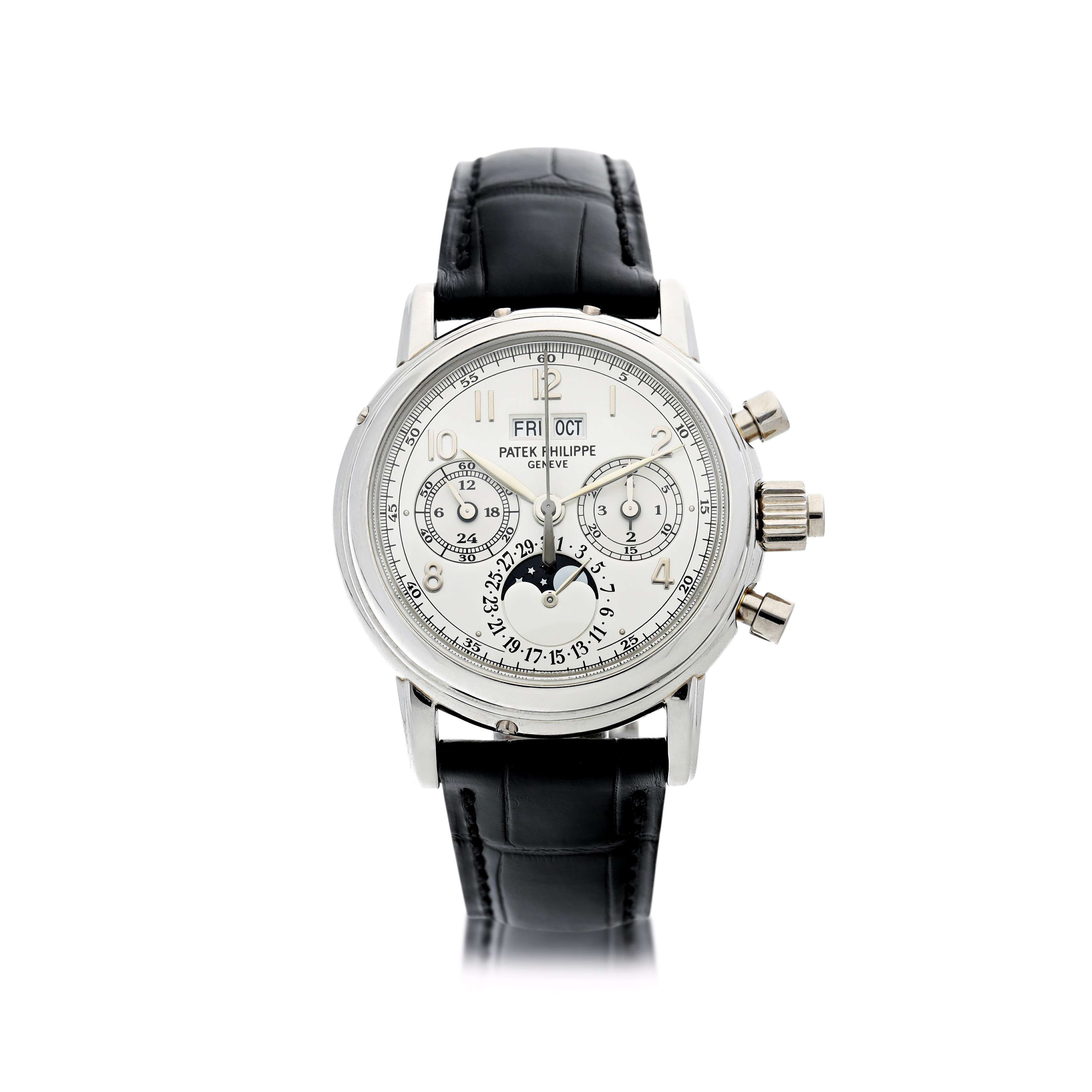 REFERENCE 5004P-001 A PLATINUM PERPETUAL CALENDAR SPLIT SECONDS CHRONOGRAPH WRISTWATCH WITH MOON PHASES, 24 HOURS AND LEAP YEAR INDICATION, CIRCA 1998