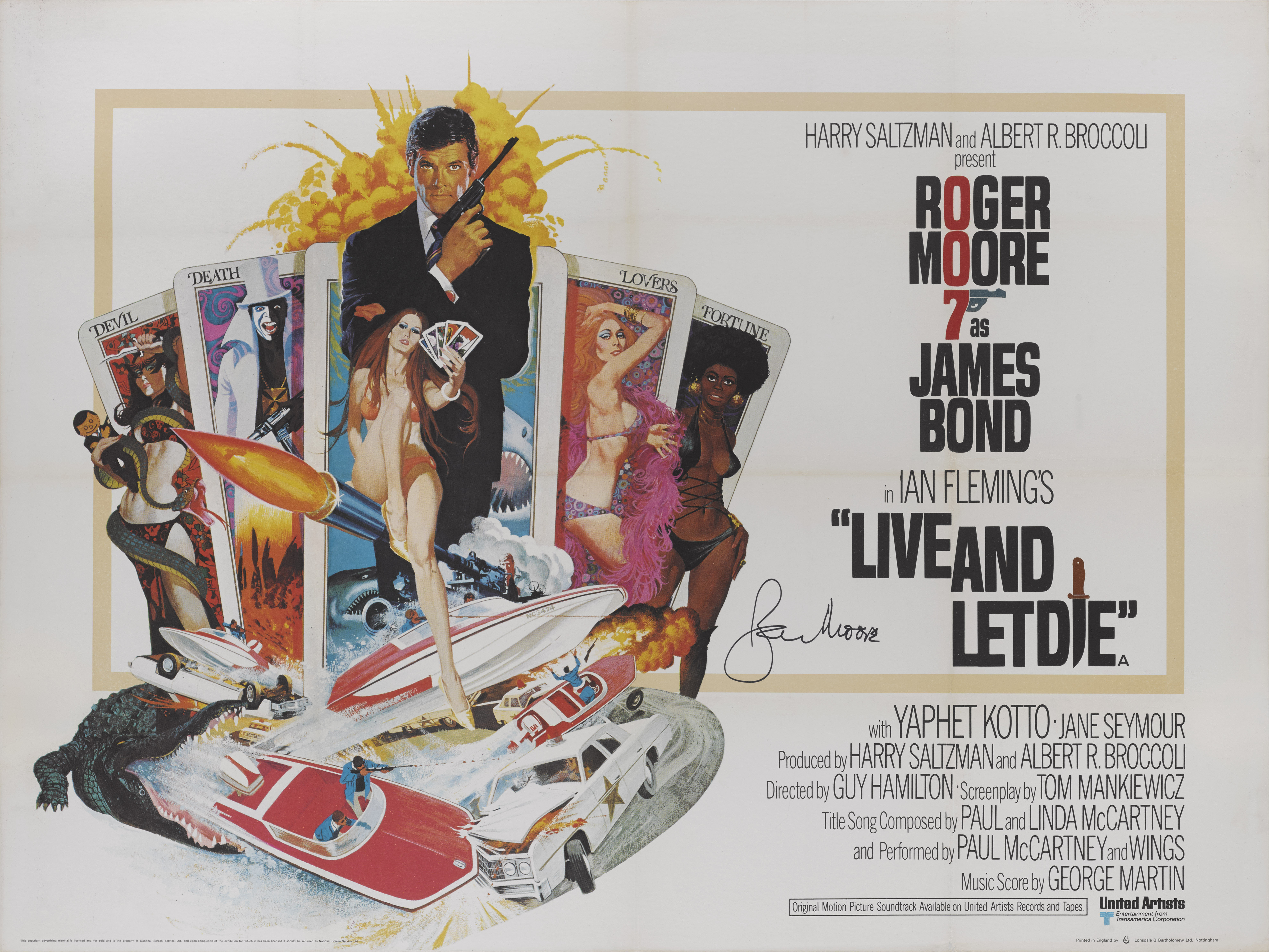 LIVE AND LET DIE (1973) POSTER, BRITISH, SIGNED BY ROGER MOORE