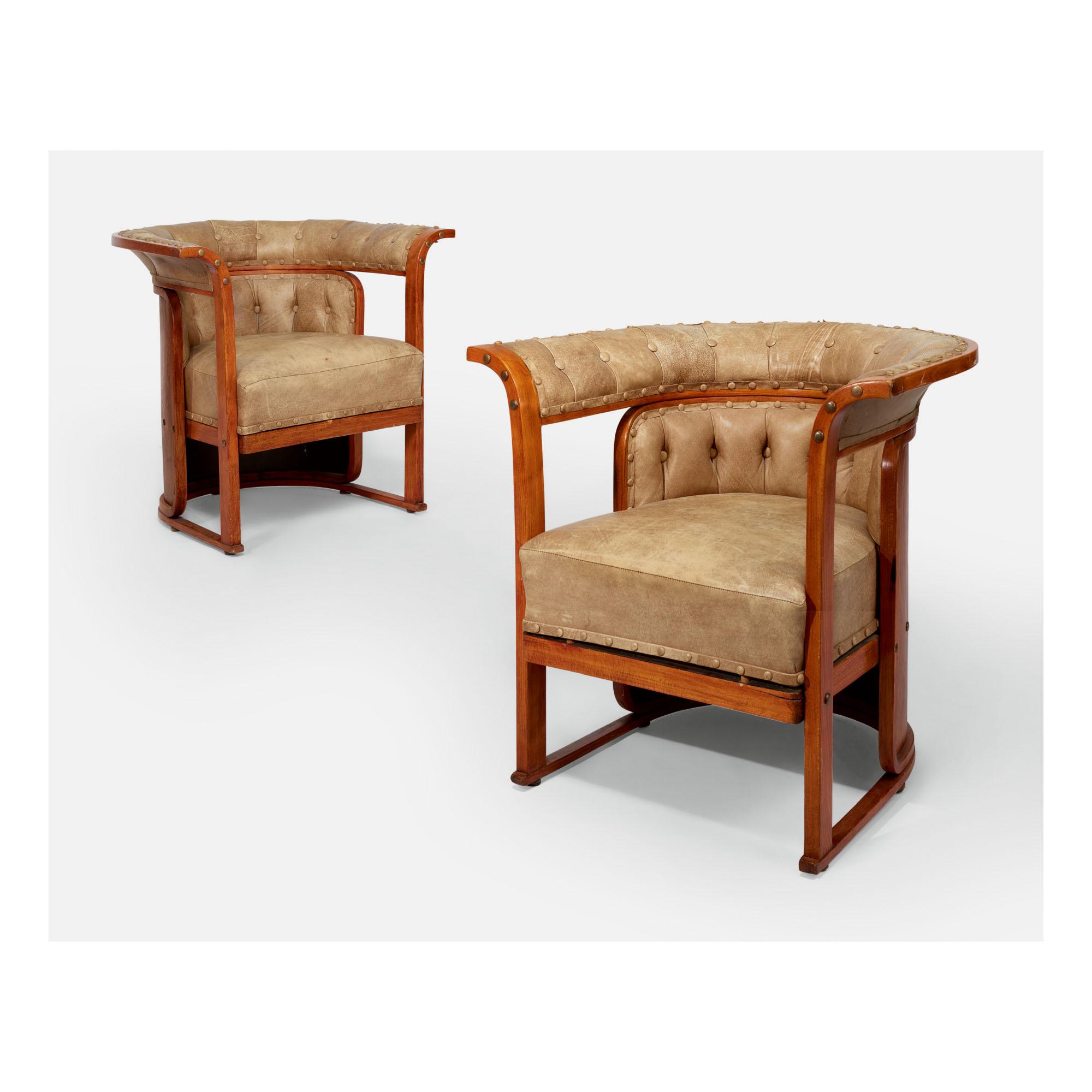 Josef Hoffmann Design.Josef Hoffmann Pair Of Buenos Aires Chairs Model No