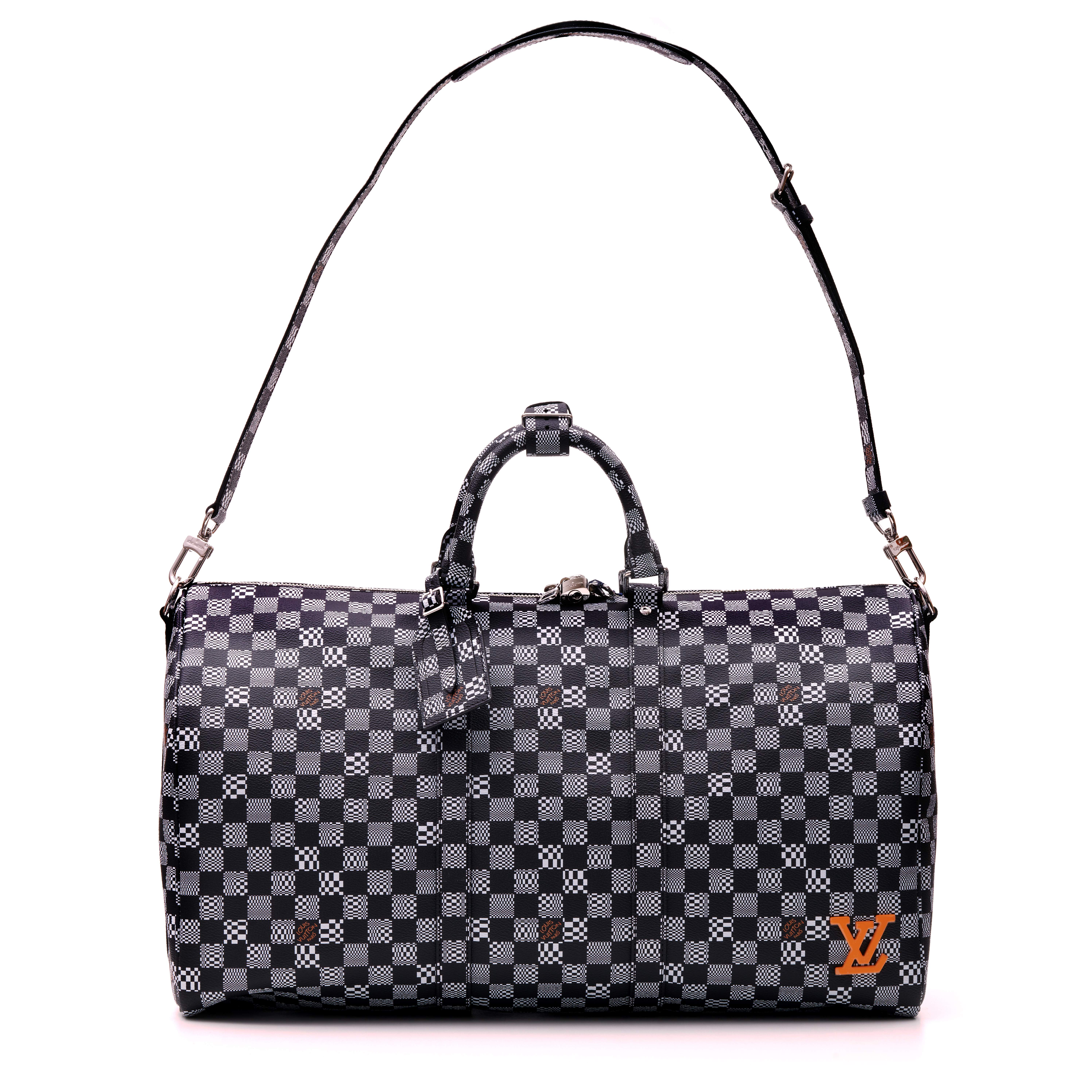 View full screen - View 1 of Lot 337. Black Distorted Damier Keepall Bandouliere 50cm in Coated Canvas and Cowhide Leather with Palladium Tone Hardware, 2020.