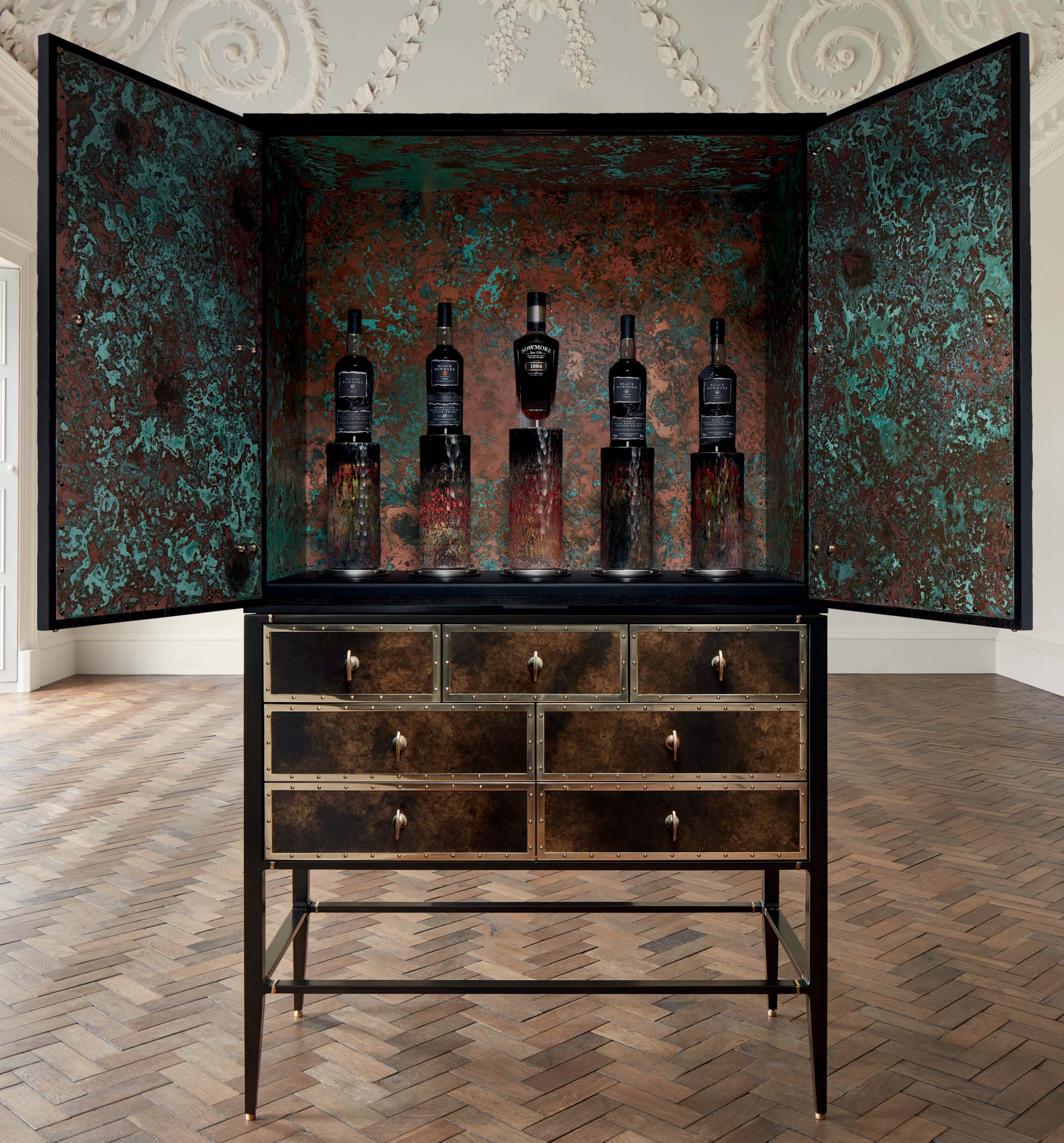 View full screen - View 1 of Lot 5501. Black Bowmore Archive Cabinet Direct From Bowmore (5 BT).