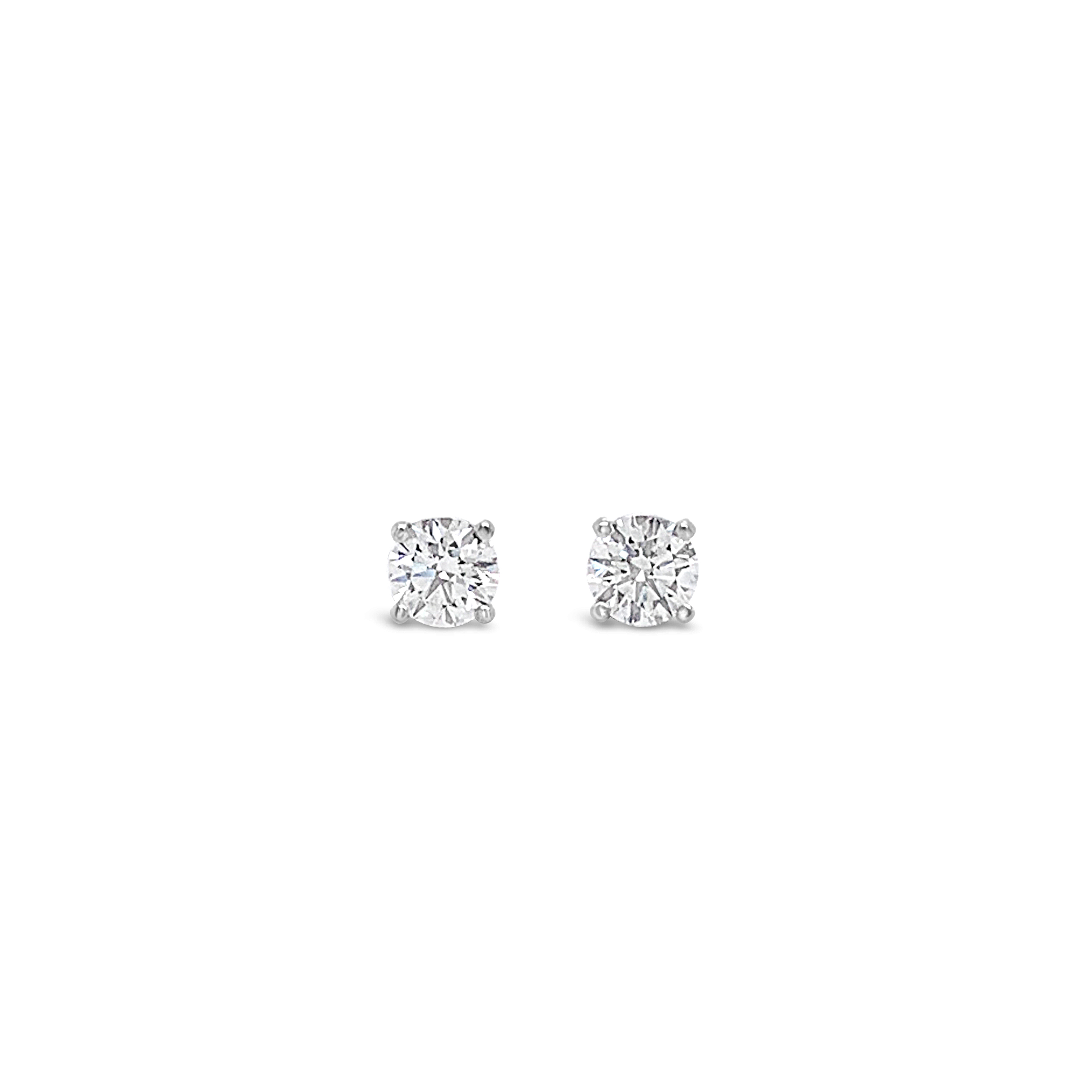 View 1 of Lot 12. PAIR OF DIAMOND STUDS, EACH WEIGHING 0.40 CARAT.