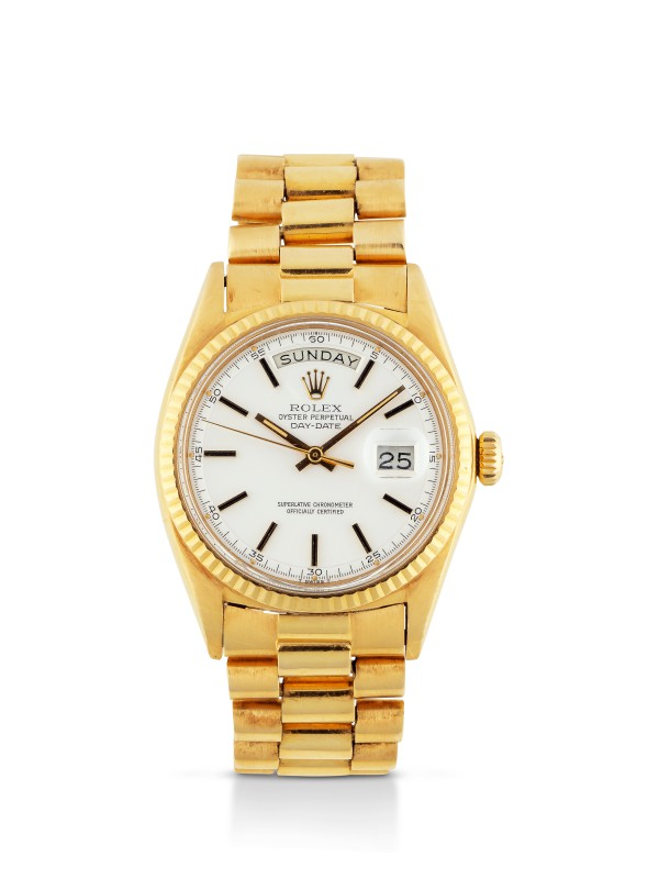 ROLEX | DAY-DATE, REF 1803 YELLOW GOLD WRISTWATCH WITH DAY, DATE AND BRACELET  CIRCA 1970