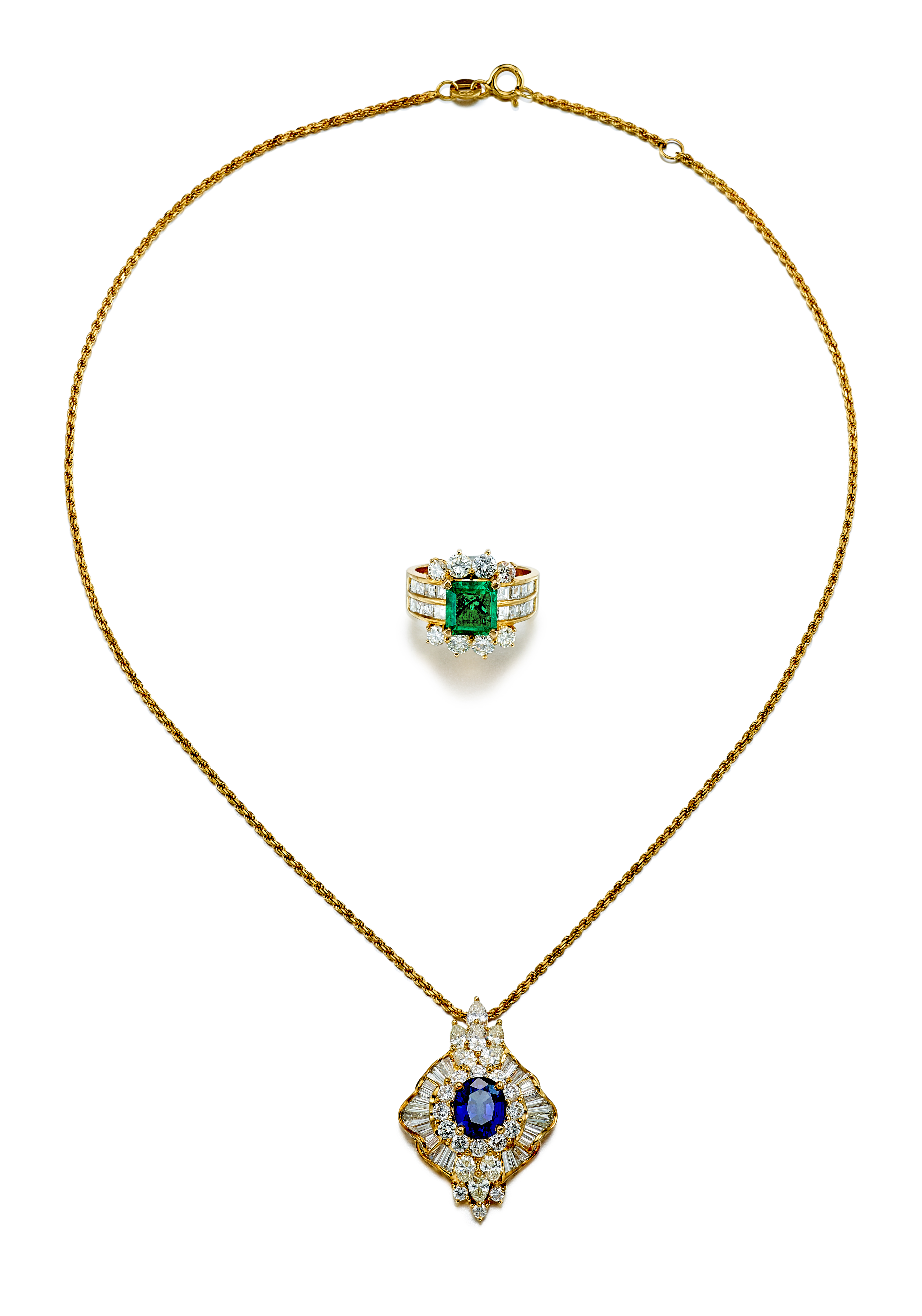 View full screen - View 1 of Lot 9189.  EMERALD AND DIAMOND RING; AND SAPPHIRE AND DIAMOND PENDENT NECKLACE   祖母綠 配 鑽石 戒指; 及 藍寶石 配 鑽石 項鏈.