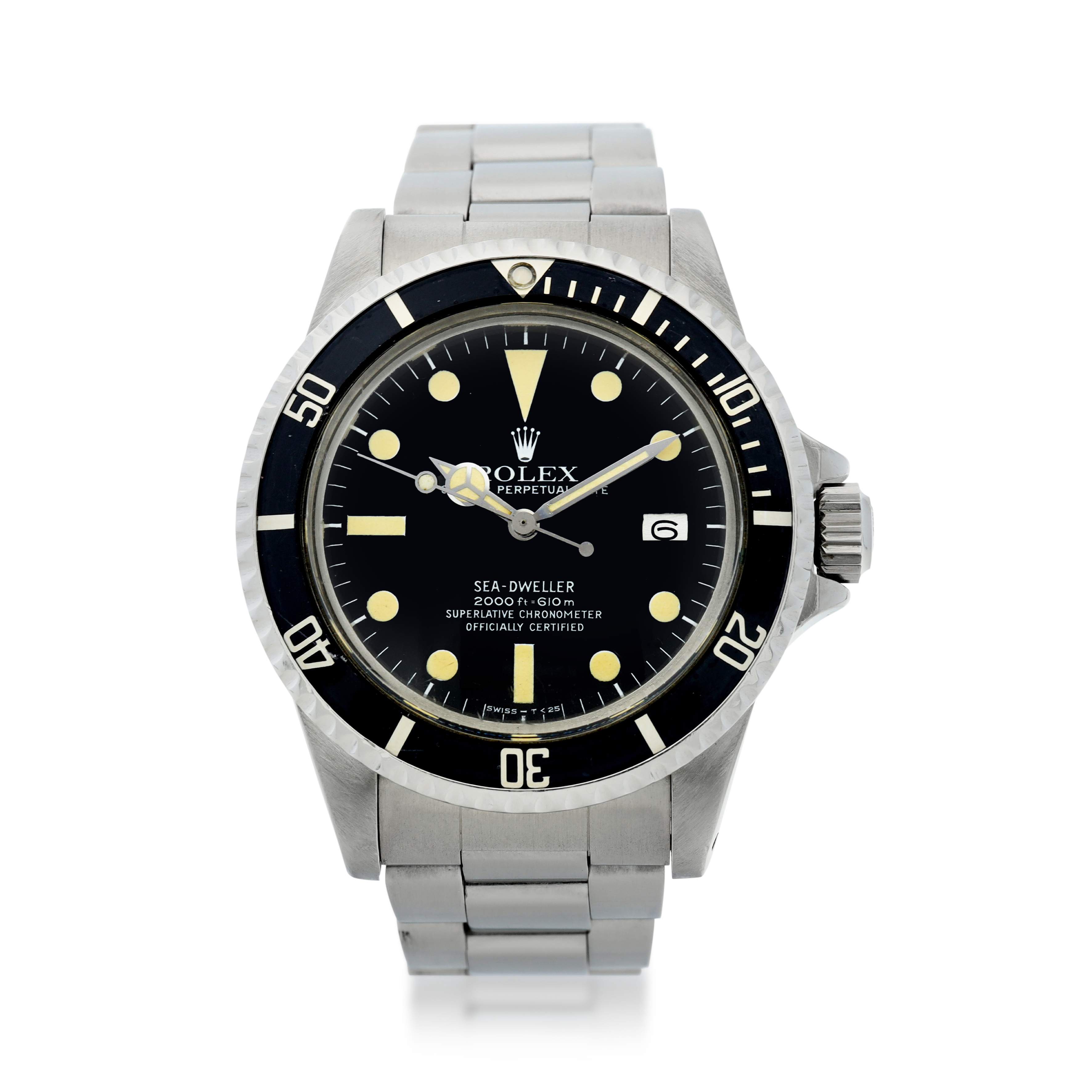 View full screen - View 1 of Lot 72. ROLEX | REFERENCE 1665 SEA-DWELLER 'GREAT WHITE'   A STAINLESS STEEL AUTOMATIC WRISTWATCH WITH DATE AND BRACELET, CIRCA 1978.