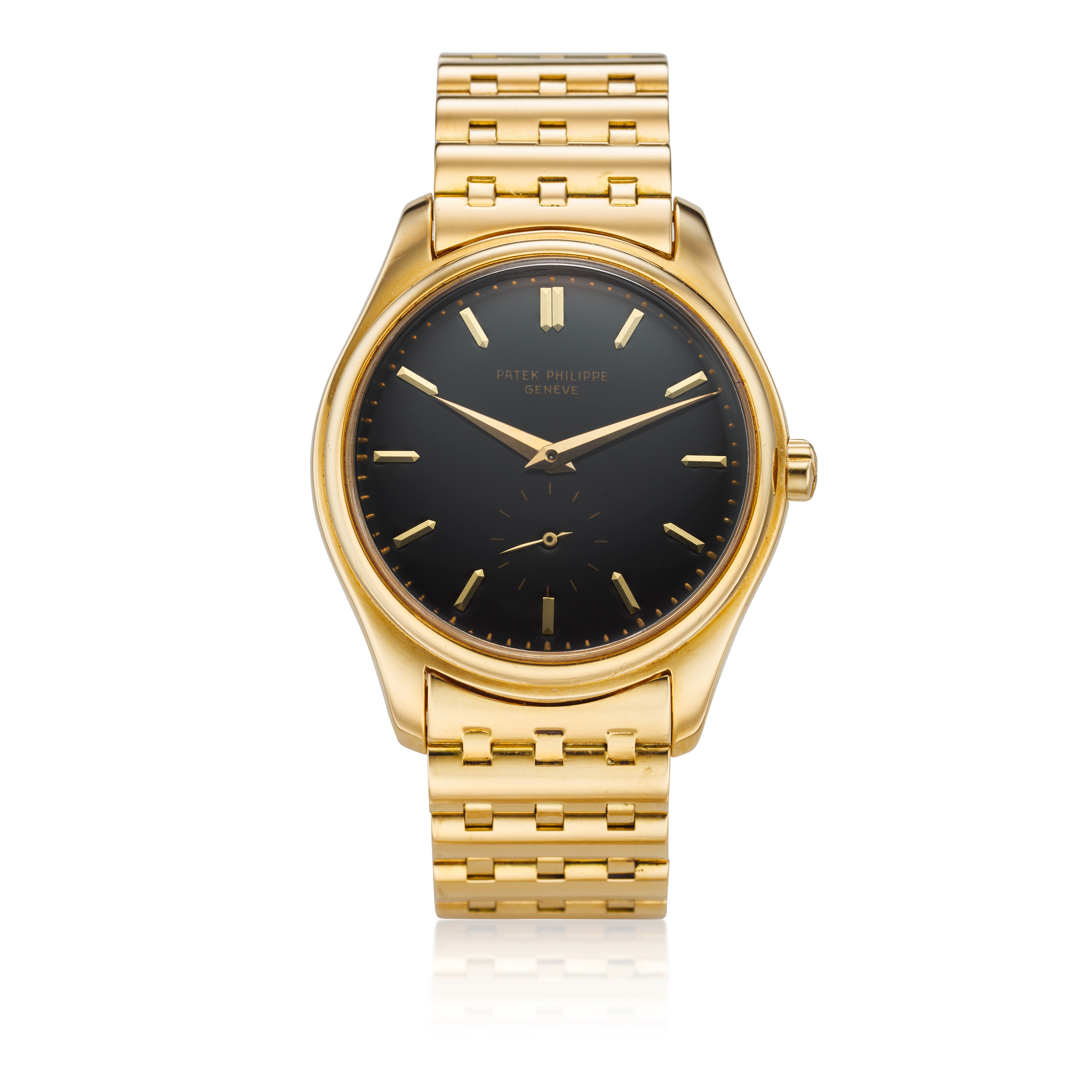 View full screen - View 1 of Lot 227. Reference 2526  A yellow gold wristwatch with a first series black enamel dial and bracelet, Made in 1954 .