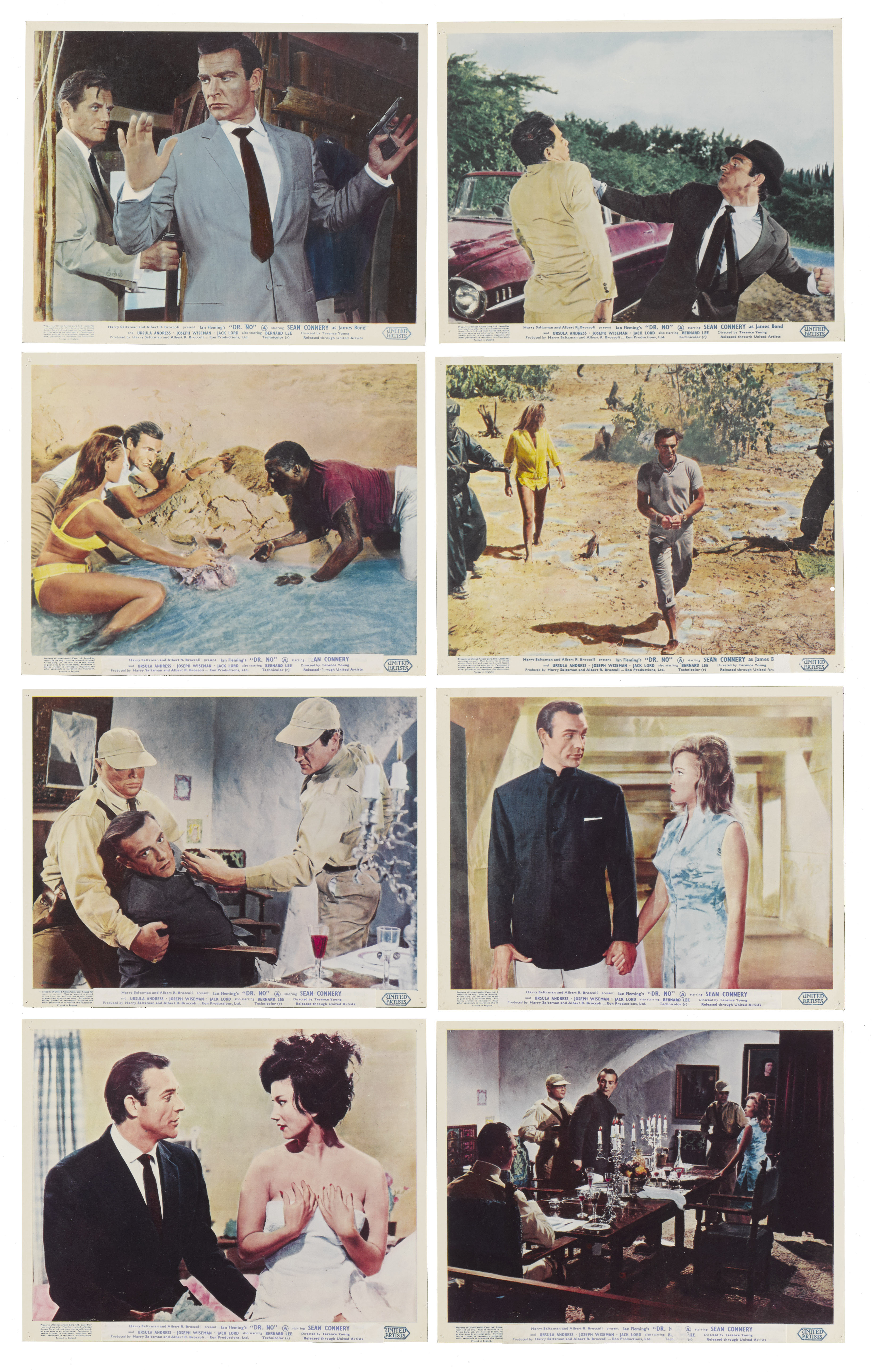 View 1 of Lot 13. DR. NO (1962) SET OF 8 FRONT OF HOUSE STILLS , BRITISH  .
