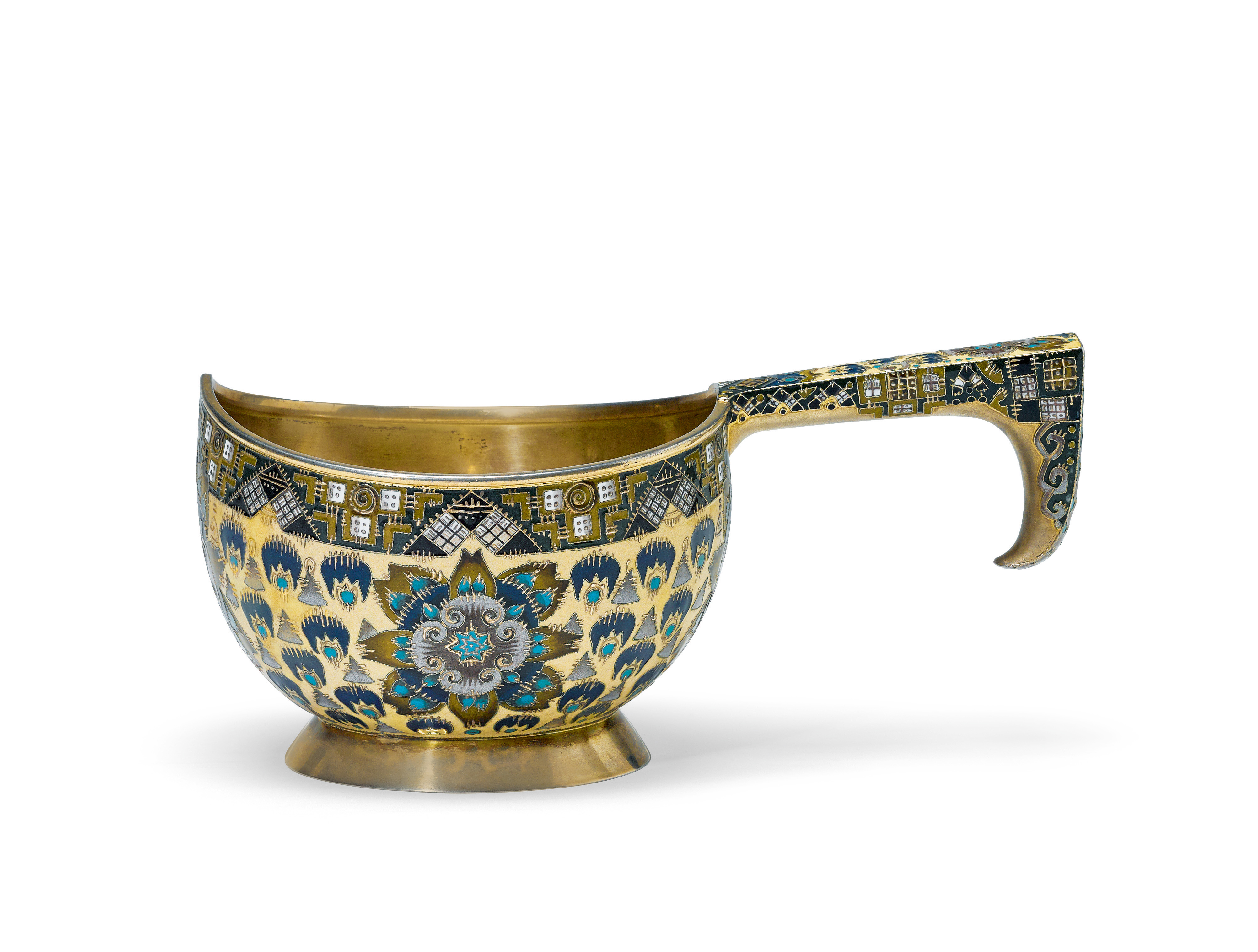 View full screen - View 1 of Lot 258. A Fabergé silver-gilt and cloisonné enamel kovsh, workmaster Feodor Rückert, Moscow, 1908-1917.