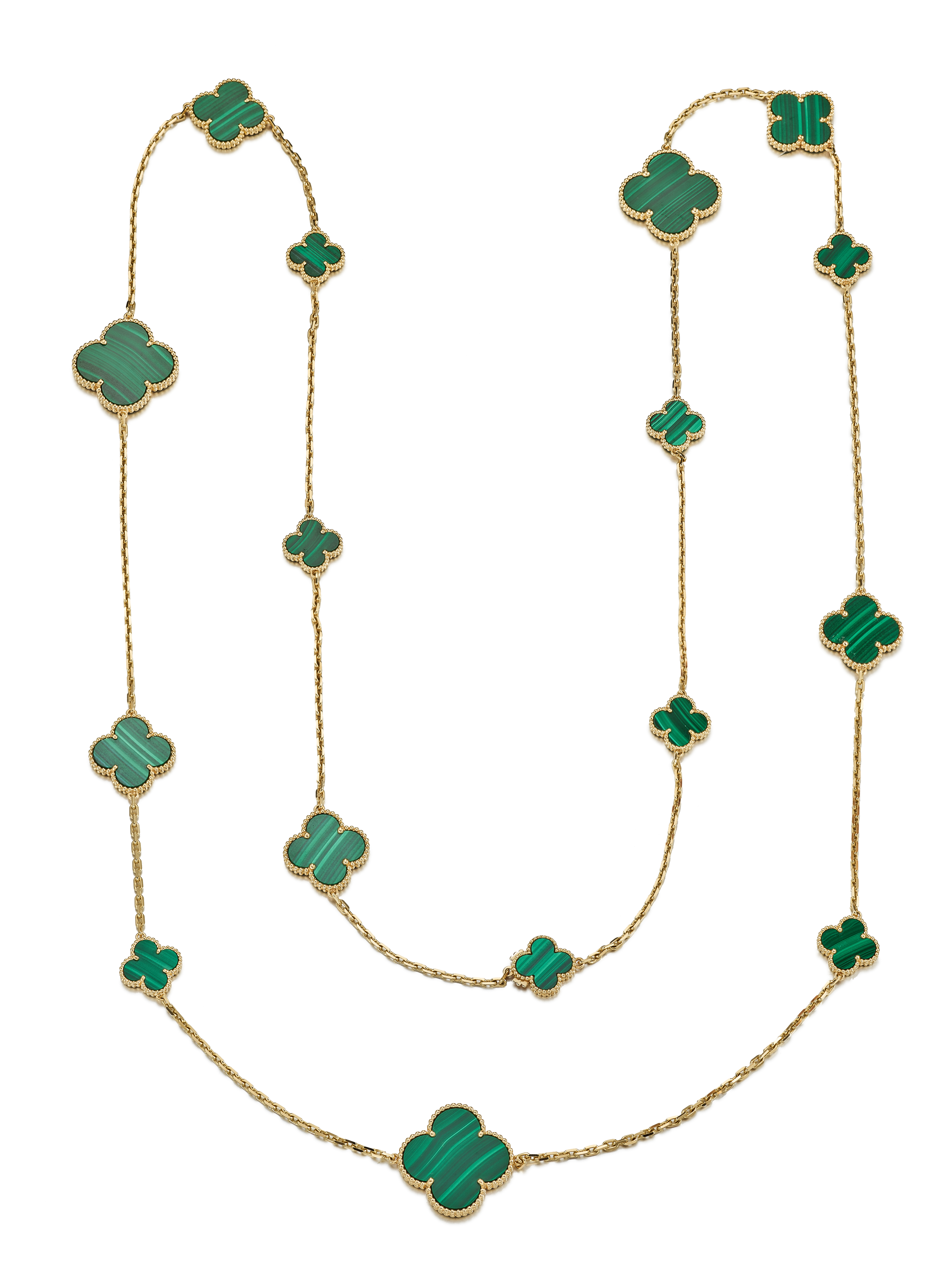 View full screen - View 1 of Lot 9103. MALACHITE NECKLACE, 'ALHAMBRA', VAN CLEEF & ARPELS | 孔雀石項鏈, 'Alhambra', 梵克雅寶(Van Cleef & Arpels).