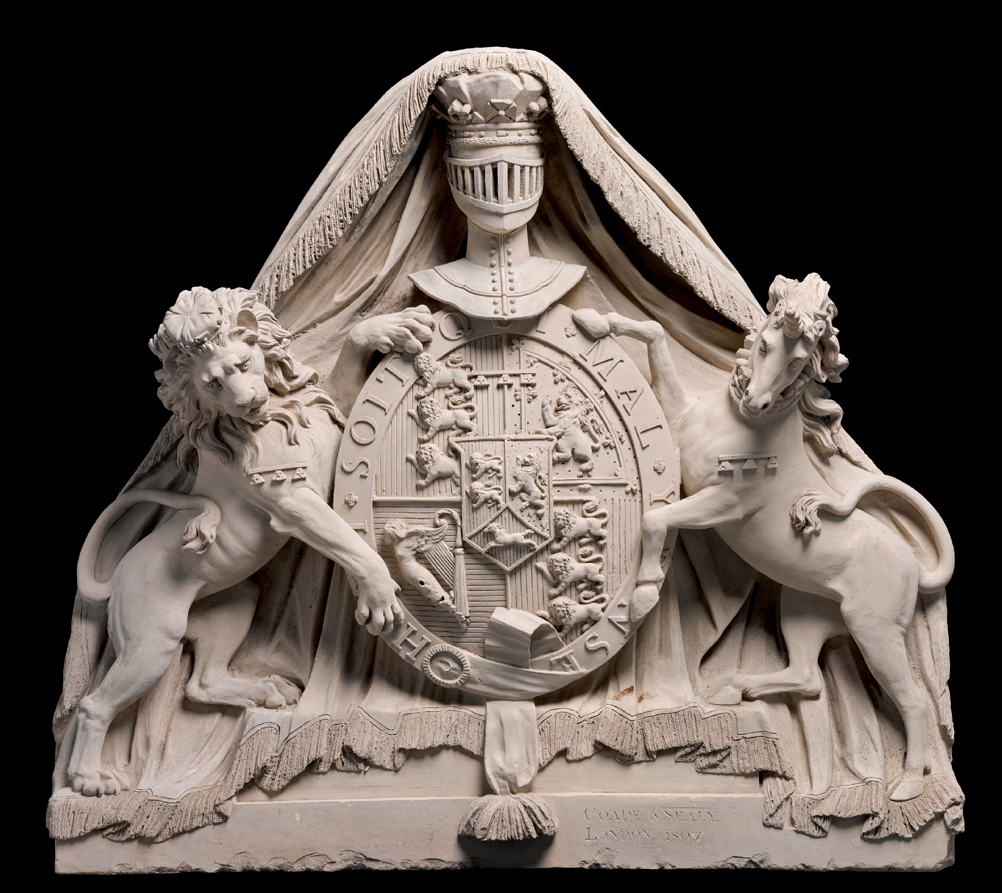 COADE'S ARTIFICIAL STONE MANUFACTORY (FL. 1769-1840), BRITISH, LONDON, 1807   PEDIMENT RELIEF WITH THE ROYAL ARMS OF GEORGE III