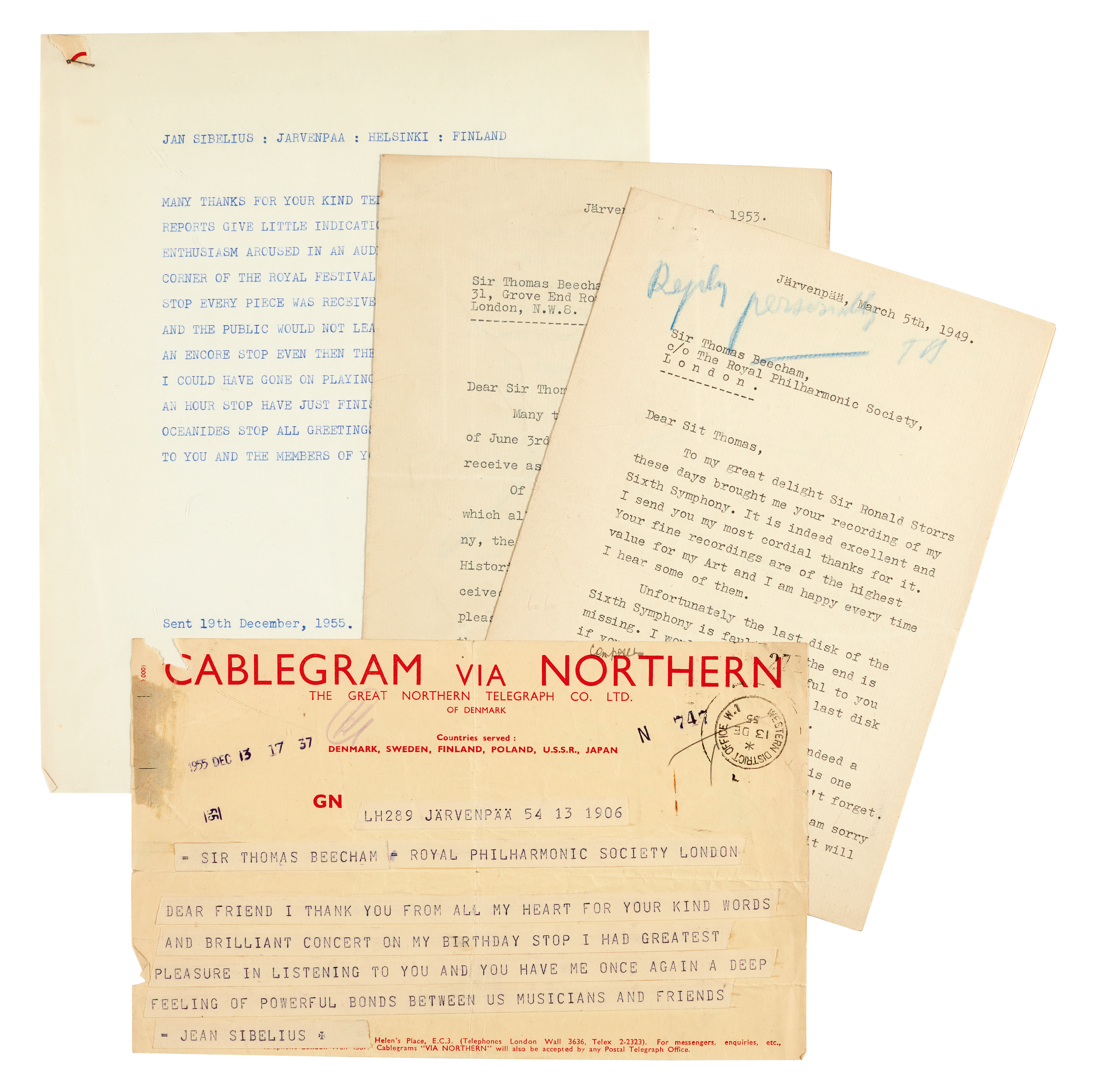 "View 1 of Lot 37. J. Sibelius, 2 typed letters signed (""Jean Sibelius""), and a telegram, to Sir Thomas Beecham, 1949 & 1953."