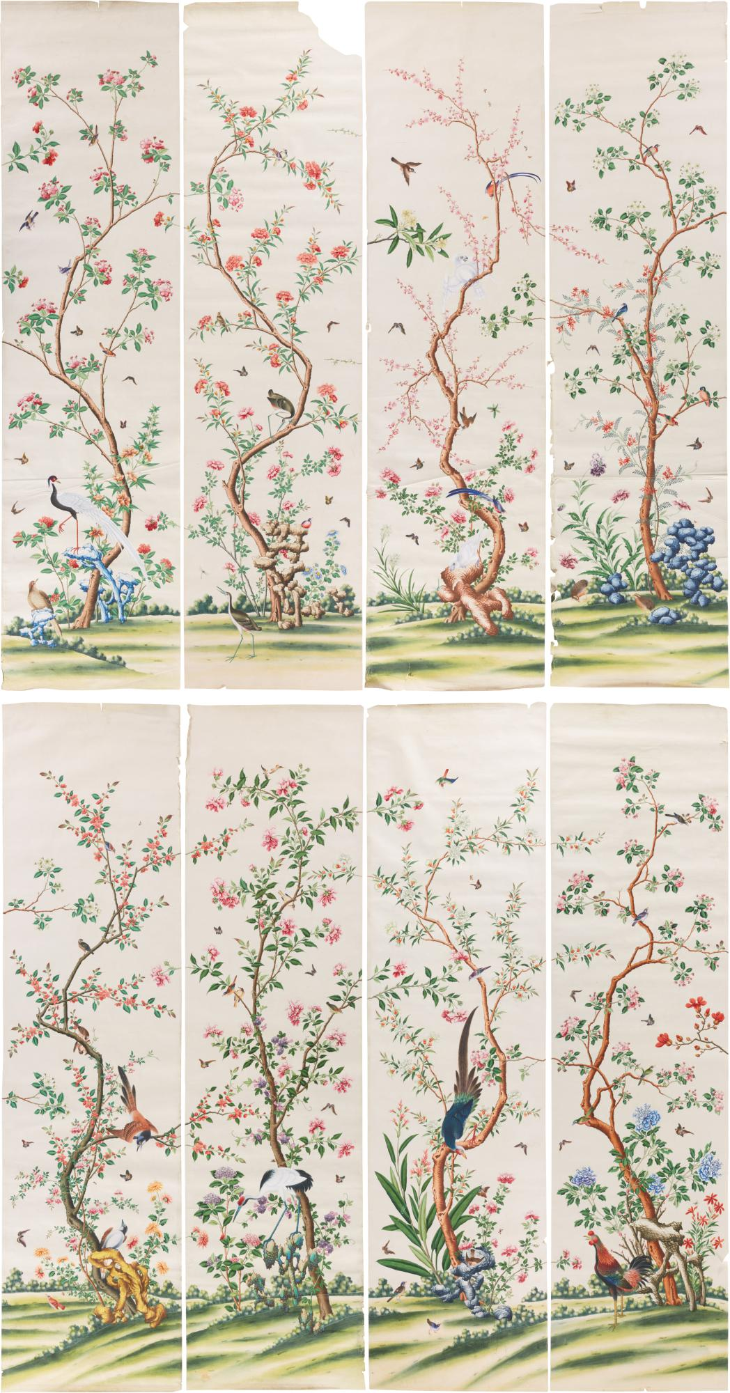A Suite Of Twenty Four Chinese Export Wallpaper Panels Circa 1790