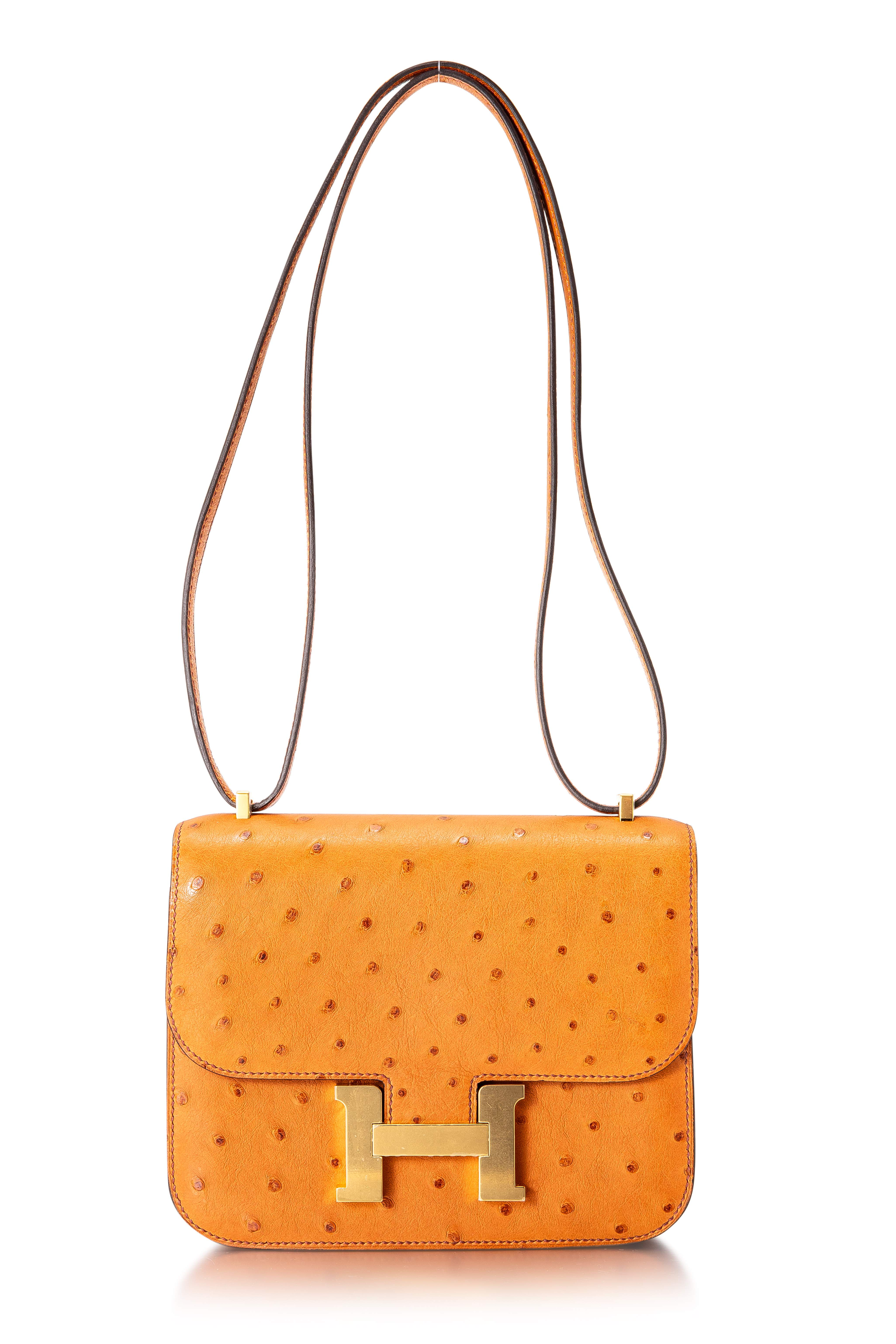 View full screen - View 1 of Lot 8512. Cognac Constance Mini in Ostrich Leather with Gold Hardware, 2020.