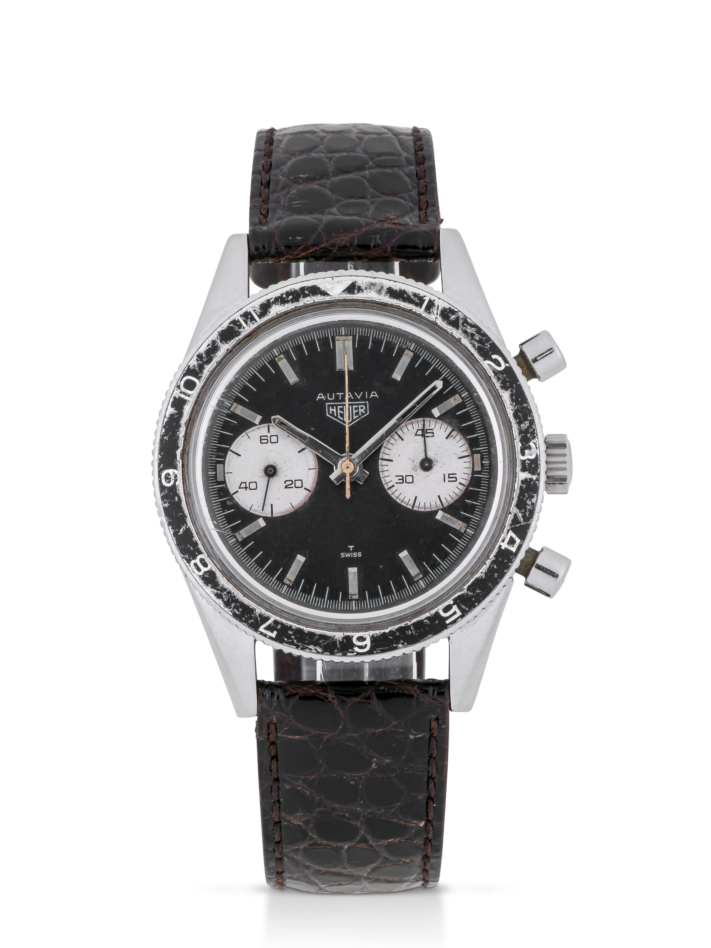 View full screen - View 1 of Lot 10. HEUER | 'MARIO ANDRETTI' AUTAVIA, REF 3646  STAINLESS STEEL CHRONOGRAPH WRISTWATCH MADE FOR THE ARGENTINIAN AIR FORCE CIRCA 1965.
