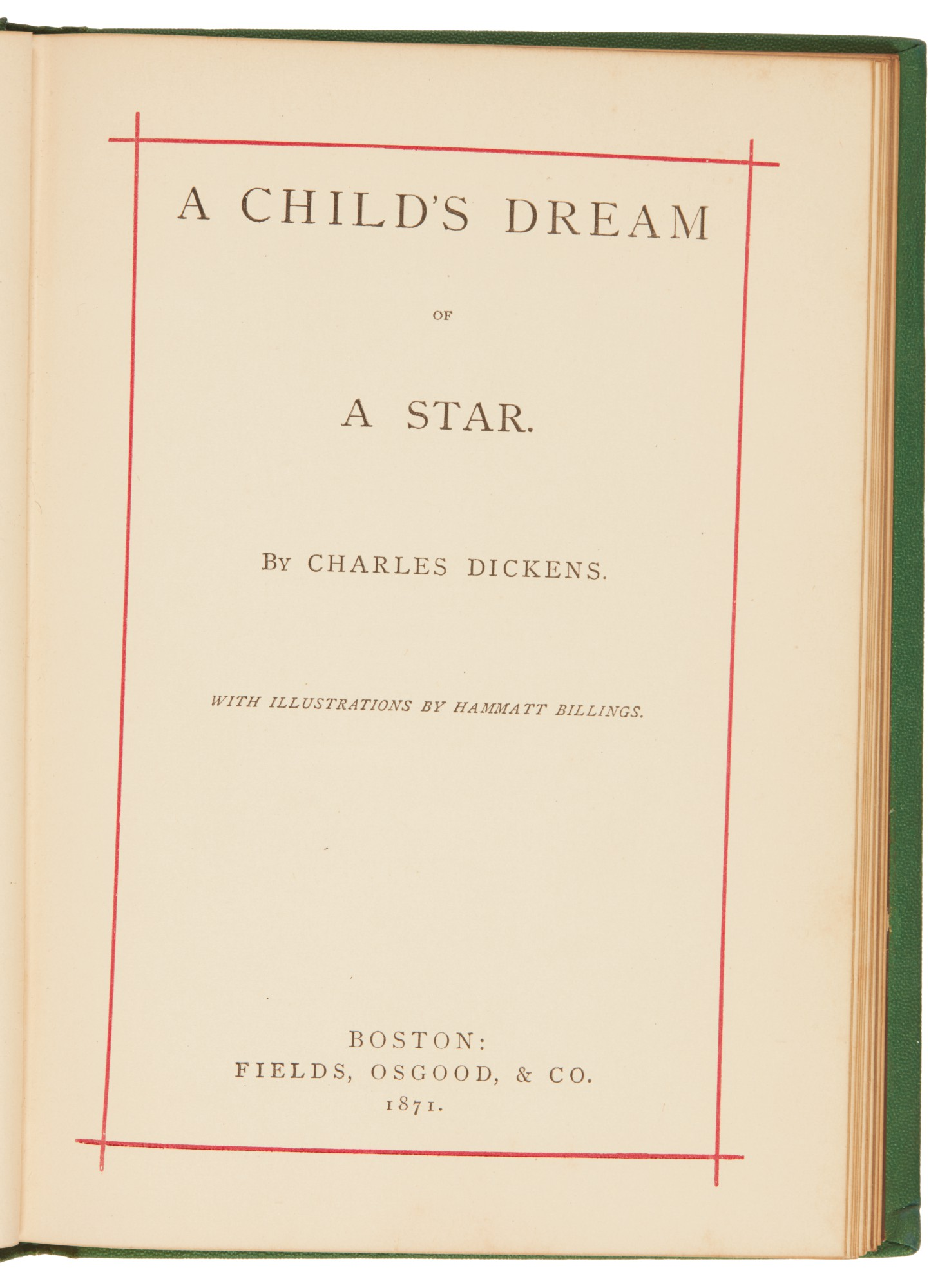 Dickens, A Child's Dream of a Star, 1871, first separate book publication