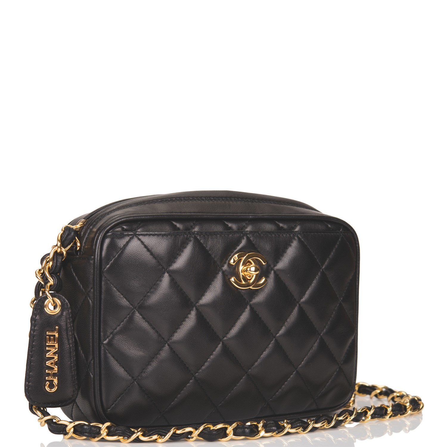 5d2a0e51 Chanel Black Camera Bag of Quilted Lambskin Leather with ...