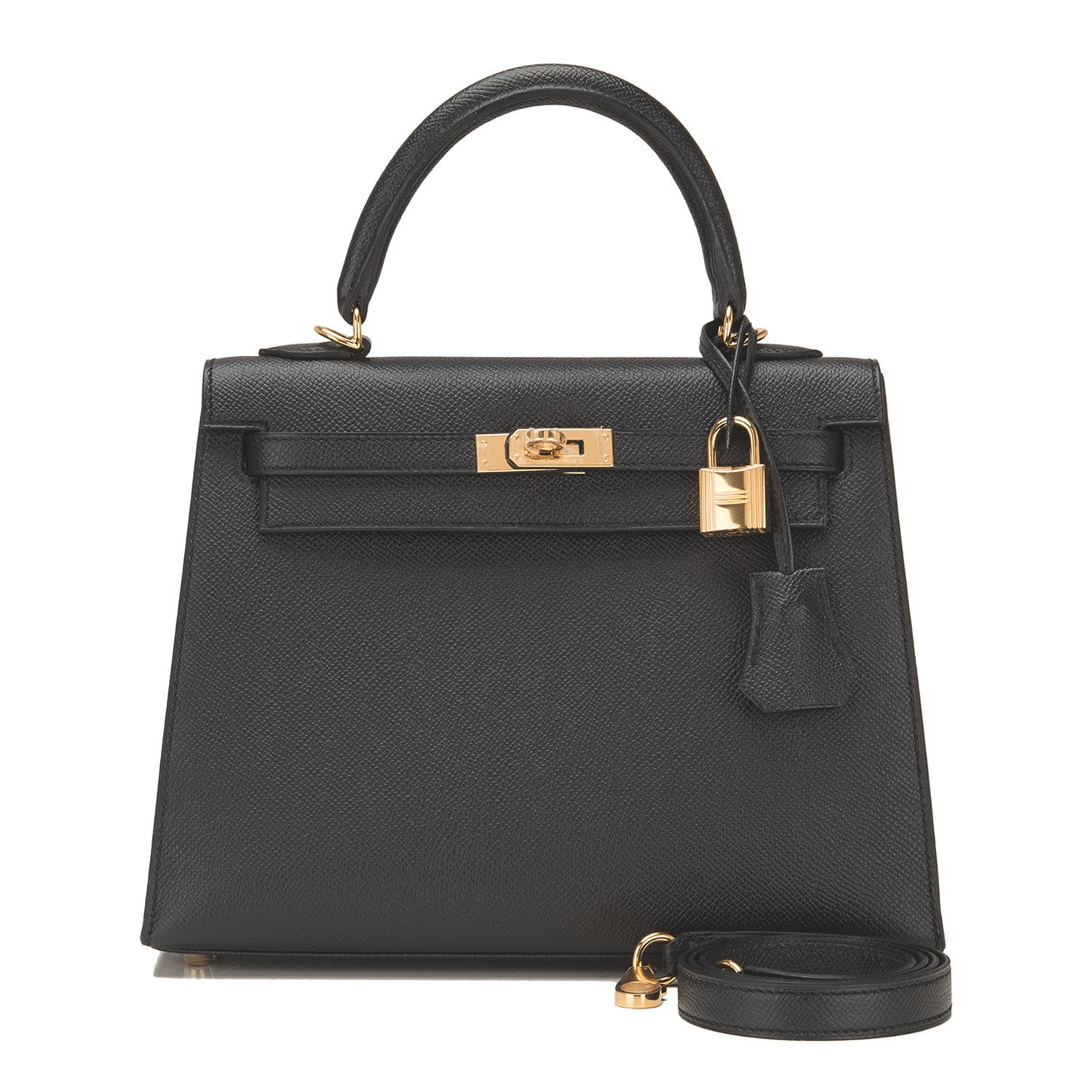 Hermès Black Sellier Kelly 25cm of Epsom Leather with Gold Hardware