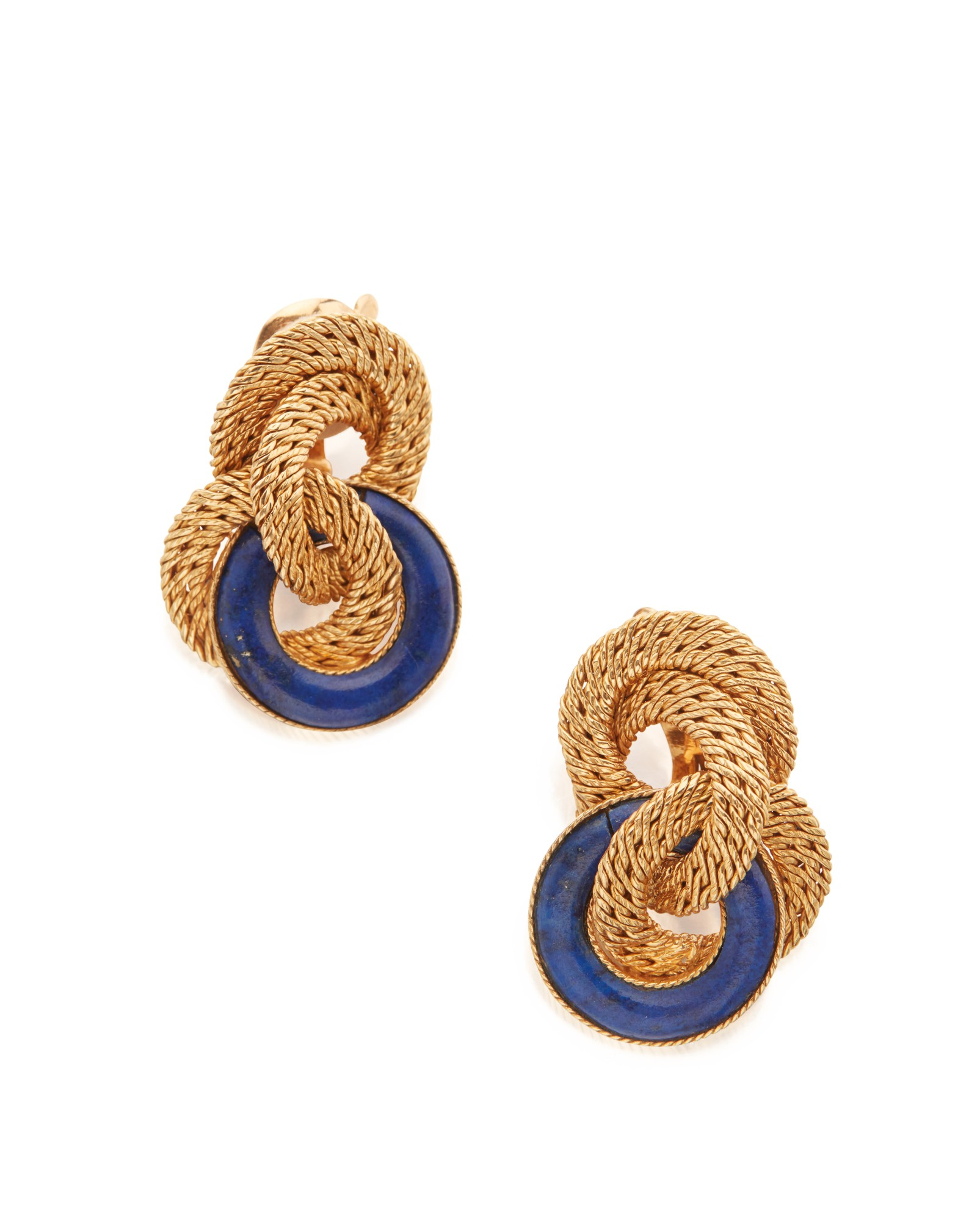 PAIR OF GOLD AND LAPIS LAZULI EARCLIPS, VAN CLEEF & ARPELS, FRANCE