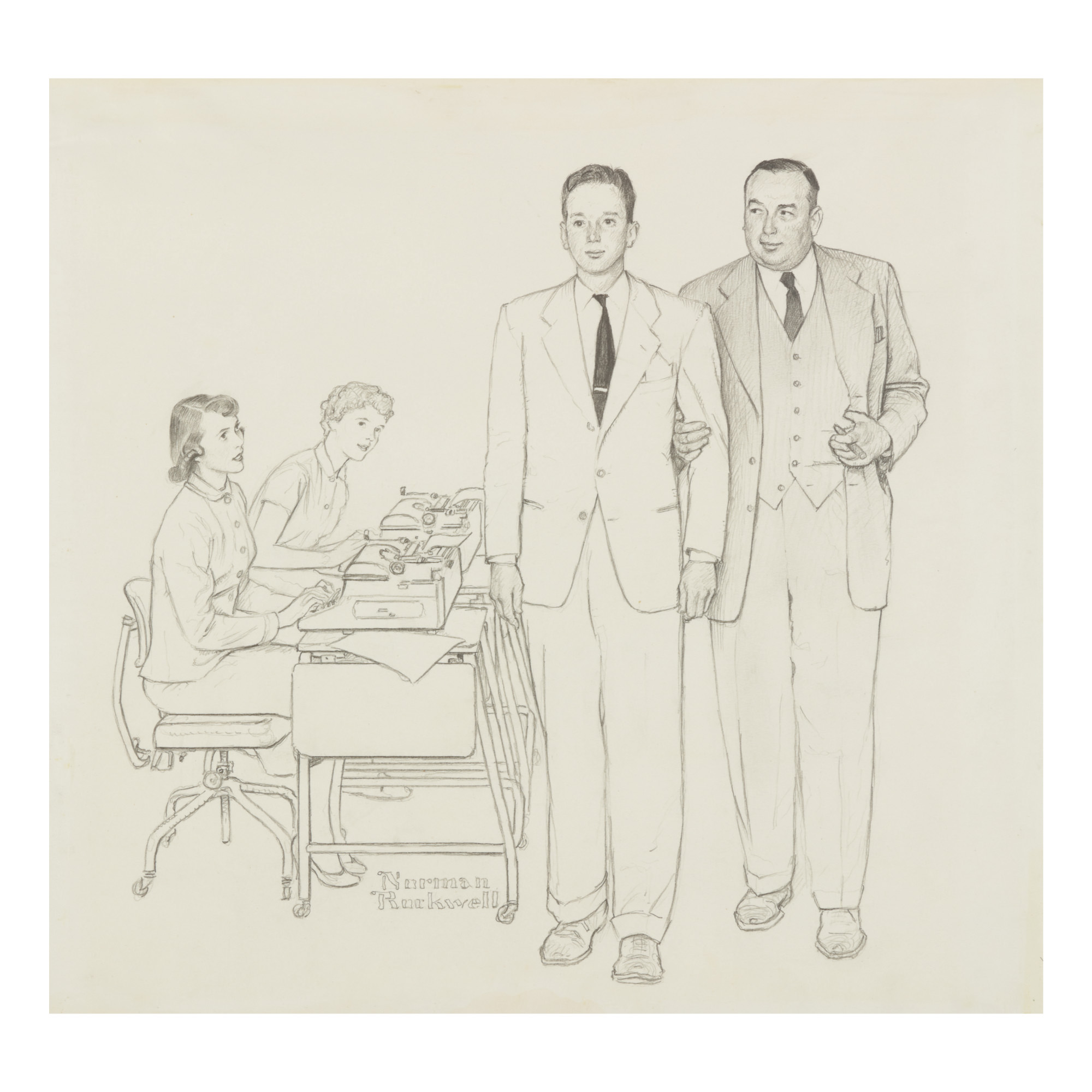 NORMAN ROCKWELL | FATHER LEADS HIS SON THROUGH HIS PLANT