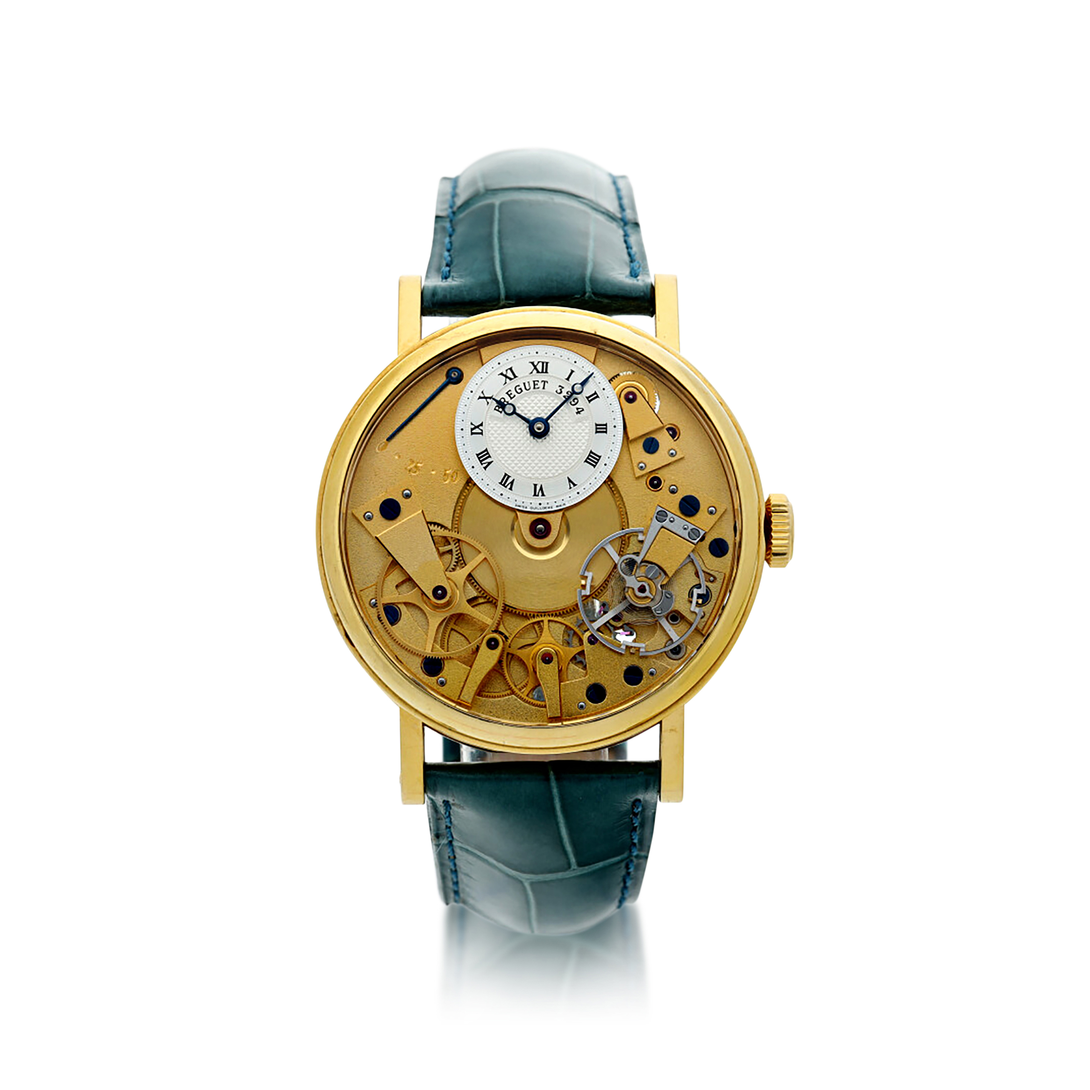 View full screen - View 1 of Lot 88. REFERENCE 7027 LA TRADITION A YELLOW GOLD SEMI-SKELETONIZED WRISTWATCH WITH POWER RESERVE INDICATION, CIRCA 2005.