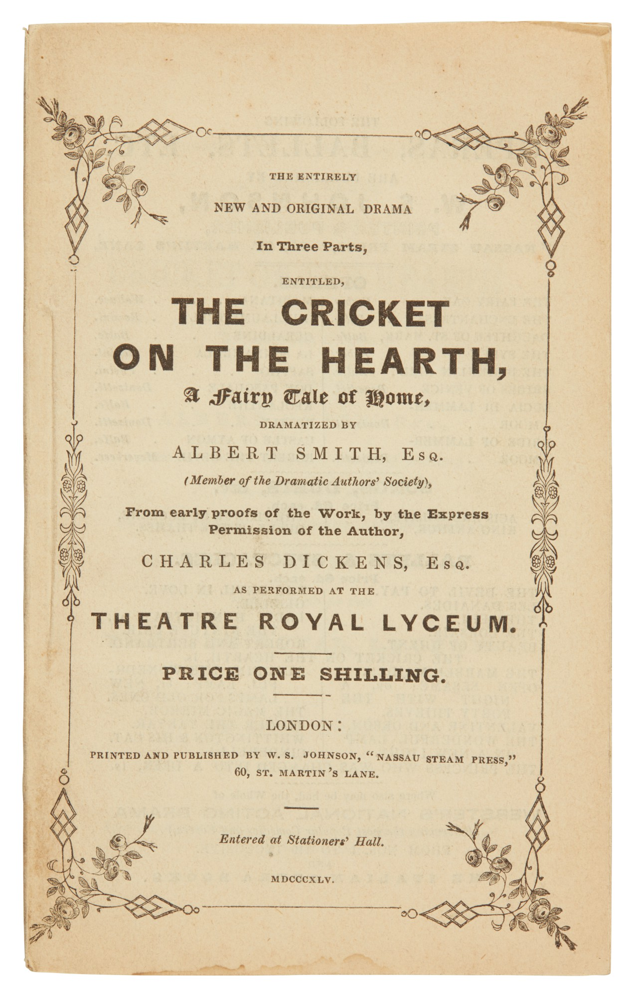 Dickens, The Cricket on the Hearth...Dramatized by Albert Smith, 1845, first edition