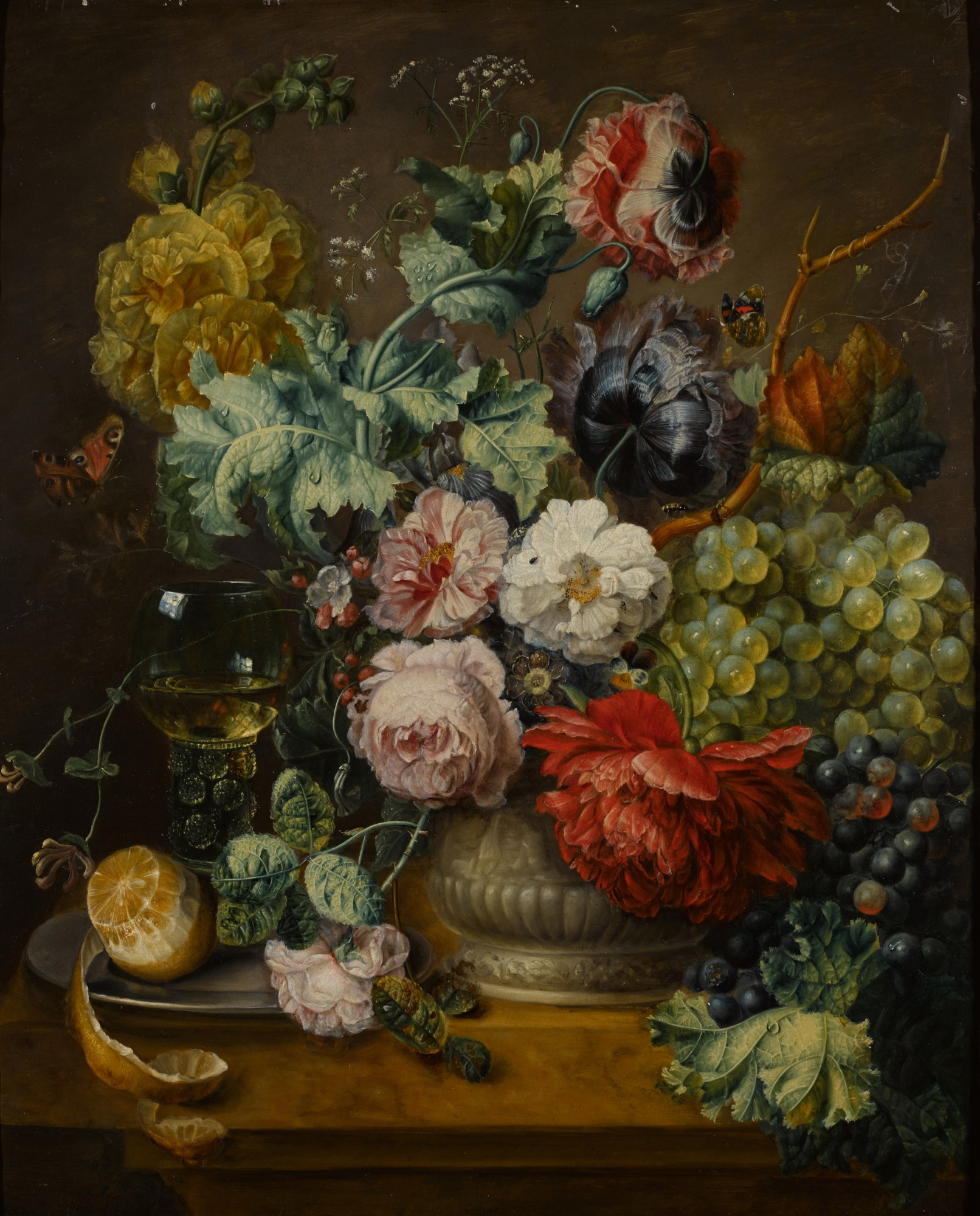 FOLLOWER OF CORNELIS VAN SPAENDONCK | Still life of summer flowers in a roemer on a marble ledge