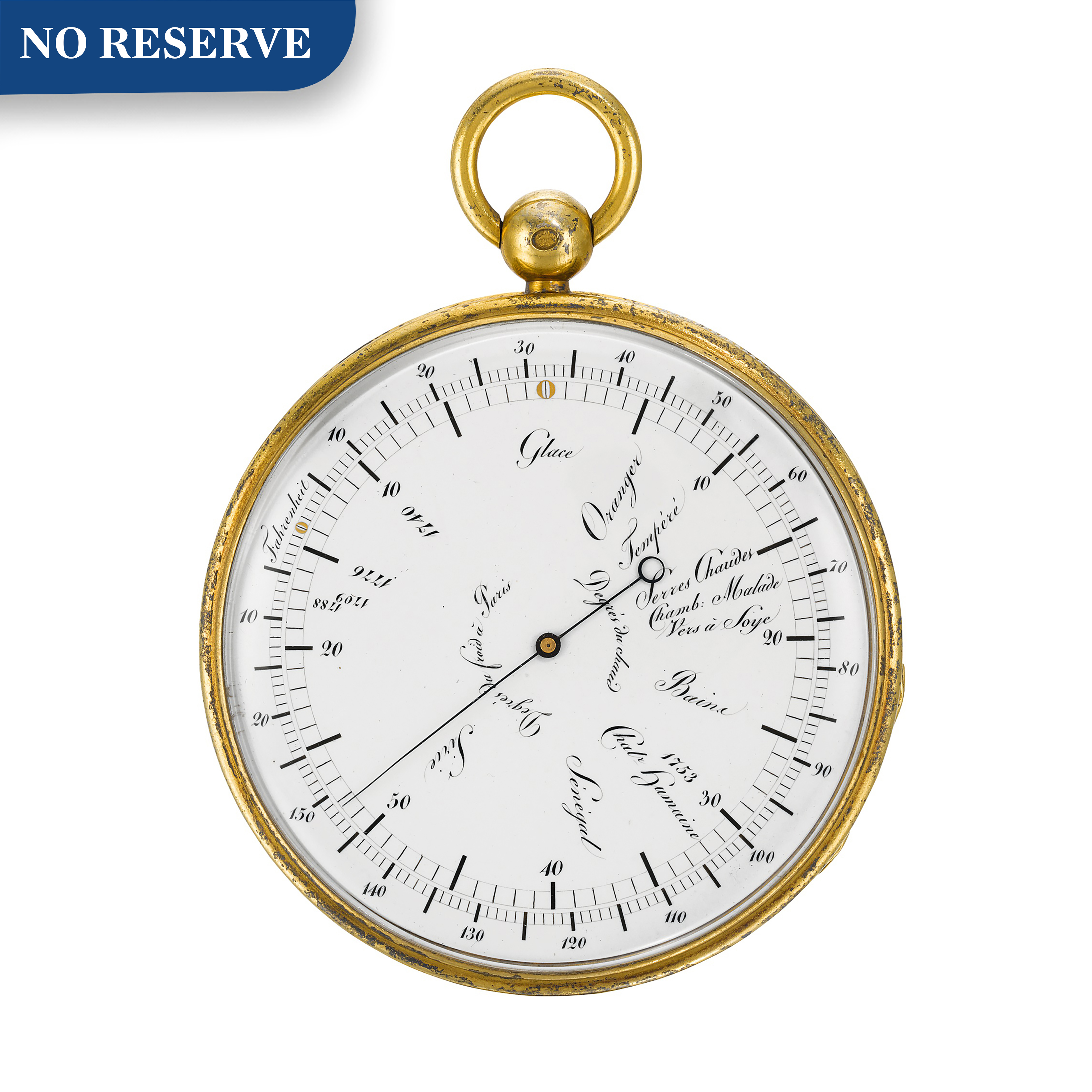View full screen - View 1 of Lot 60. BREGUET   [寶璣]    A SILVER-GILT POCKET THERMOMETER WITH RÉAUMUR AND FAHRENHEIT SCALES  NO. 101 PRESENTED AS A GIFT TO MONSIEUR CLÉMENT 18 DECEMBER 1821   [鎏金銀袖珍溫度計備列氏及華氏溫標,編號101,1821年12月18日贈出].