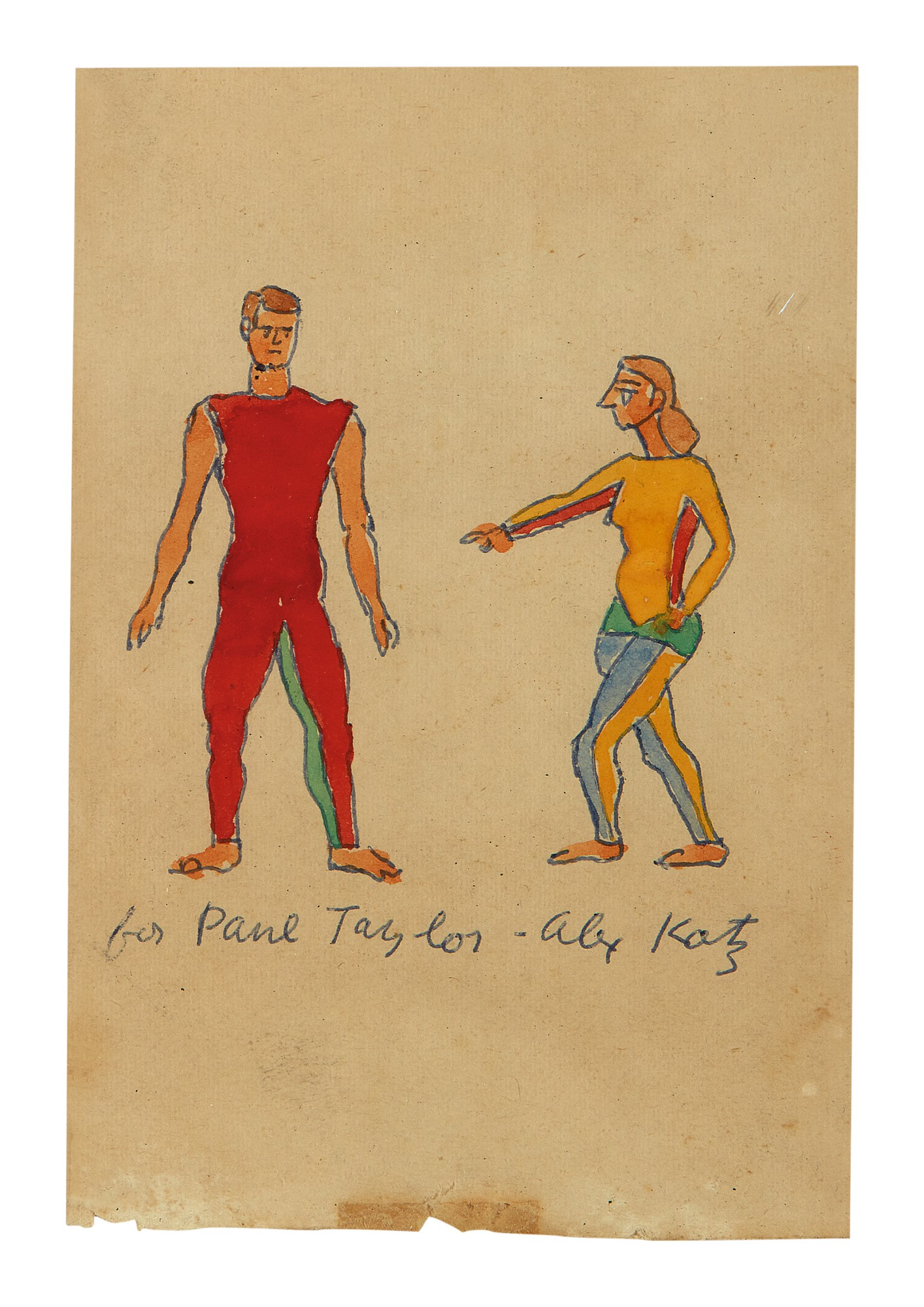 ALEX KATZ | UNTITLED (TWO FIGURES IN RED AND YELLOW)
