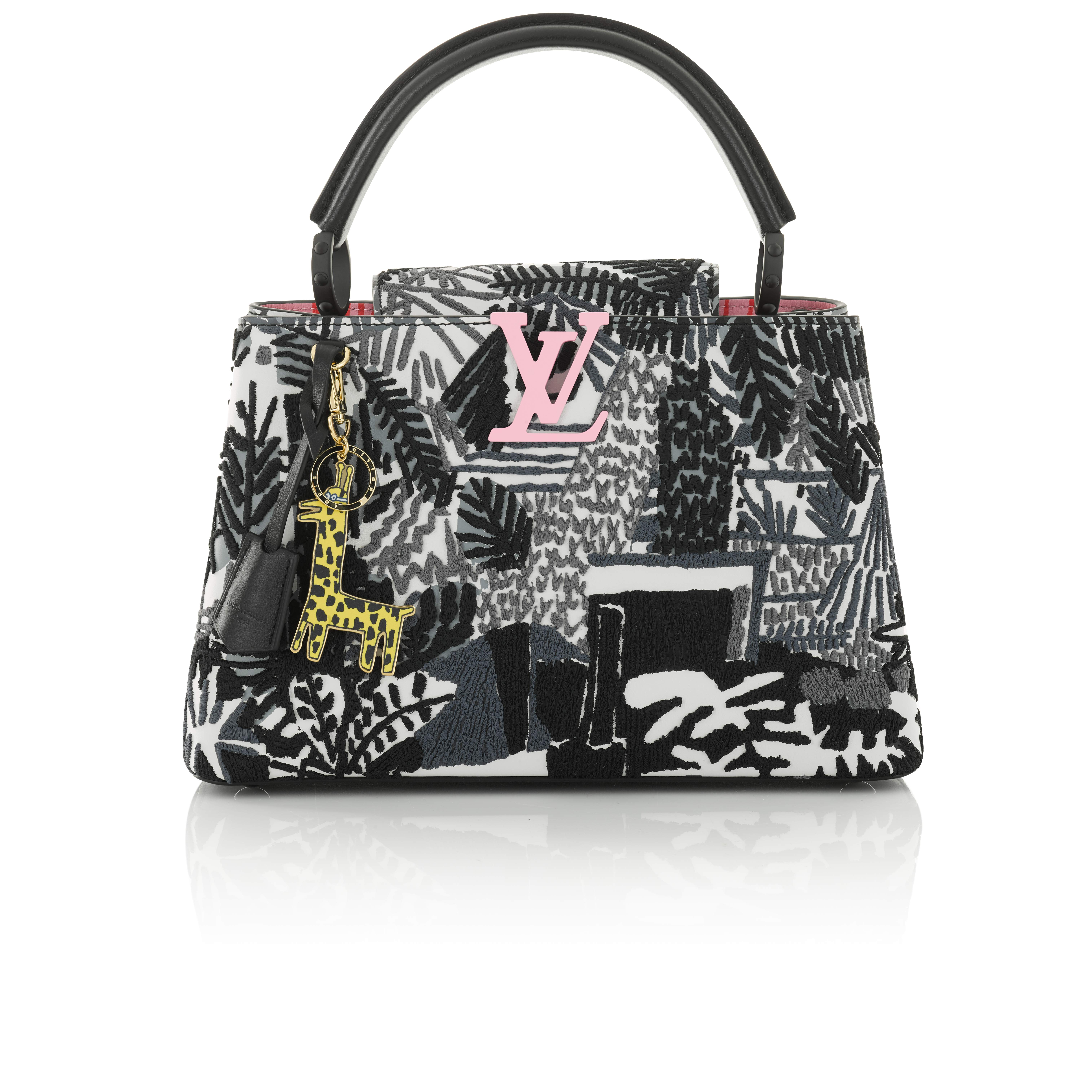 View full screen - View 1 of Lot 8. Artycapucines Printed Stitched Leather Bag PM in Calfskin Leather and Pink, Black and White Hardware, 2019.