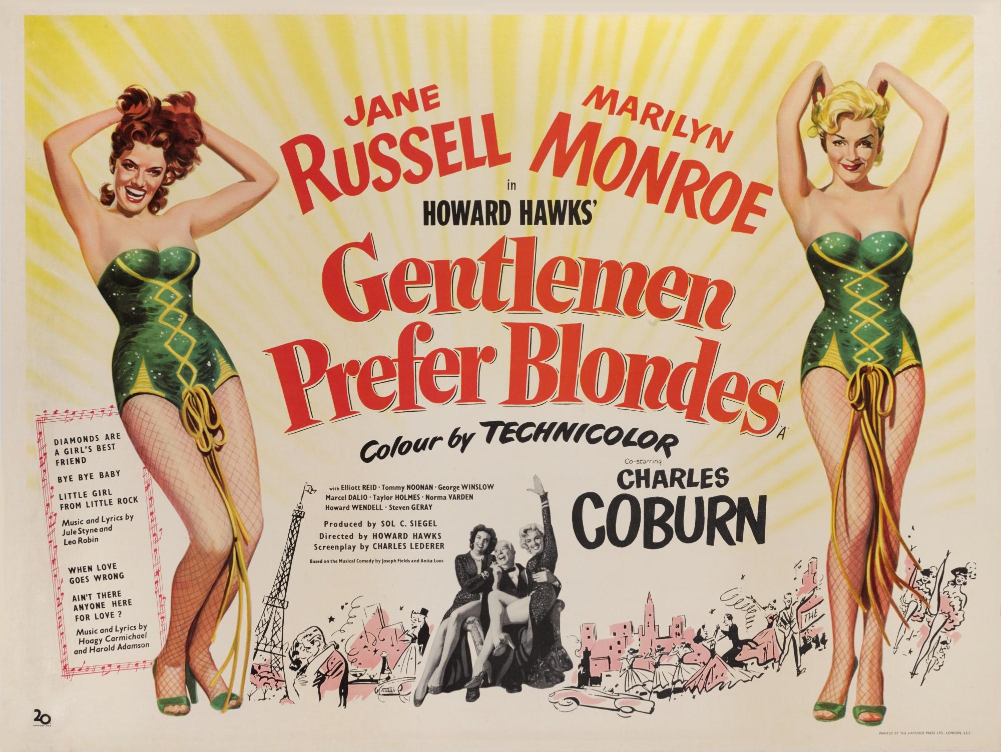GENTLEMEN PREFER BLONDES (1953) POSTER, BRITISH
