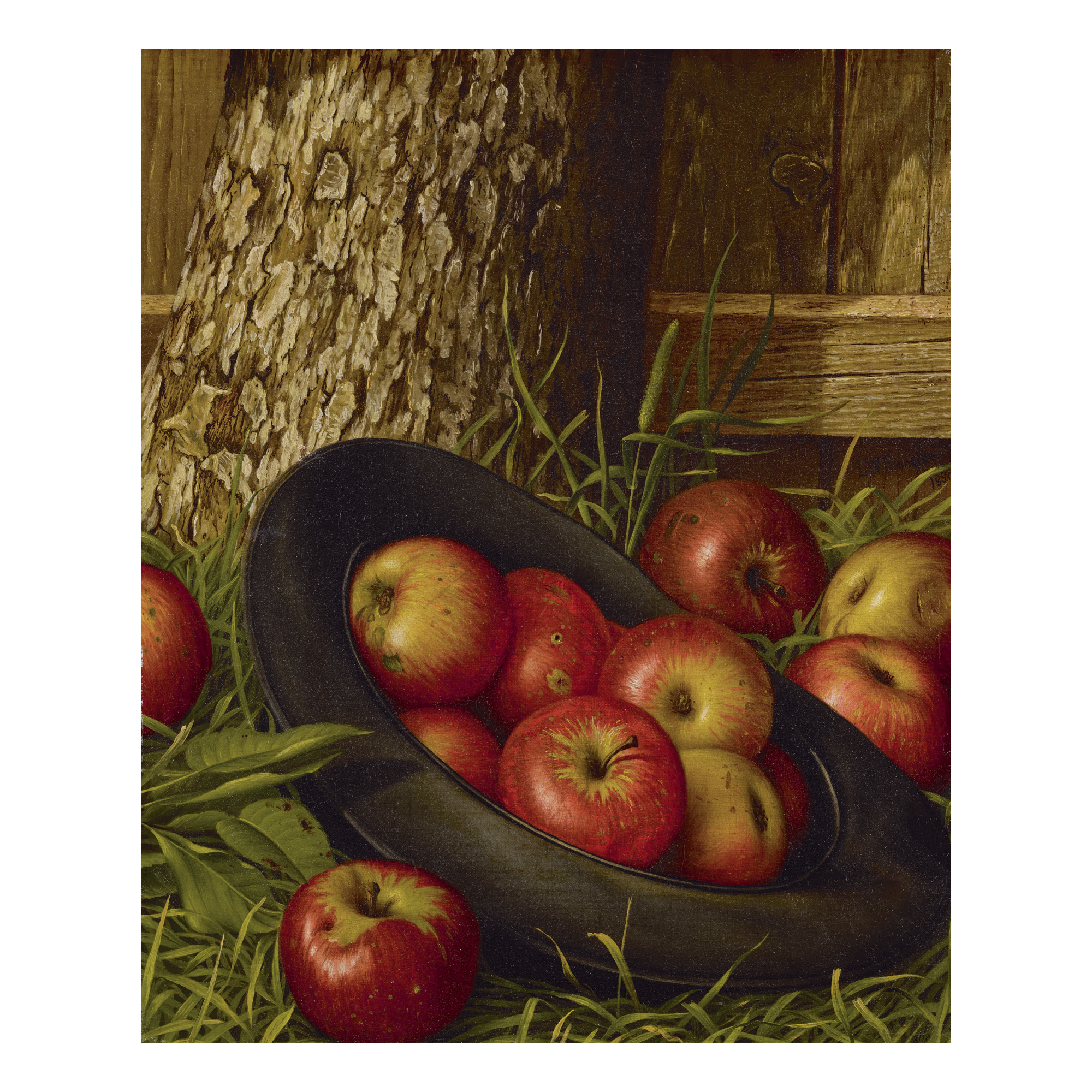 LEVI WELLS PRENTICE | STILL LIFE OF APPLES IN A HAT
