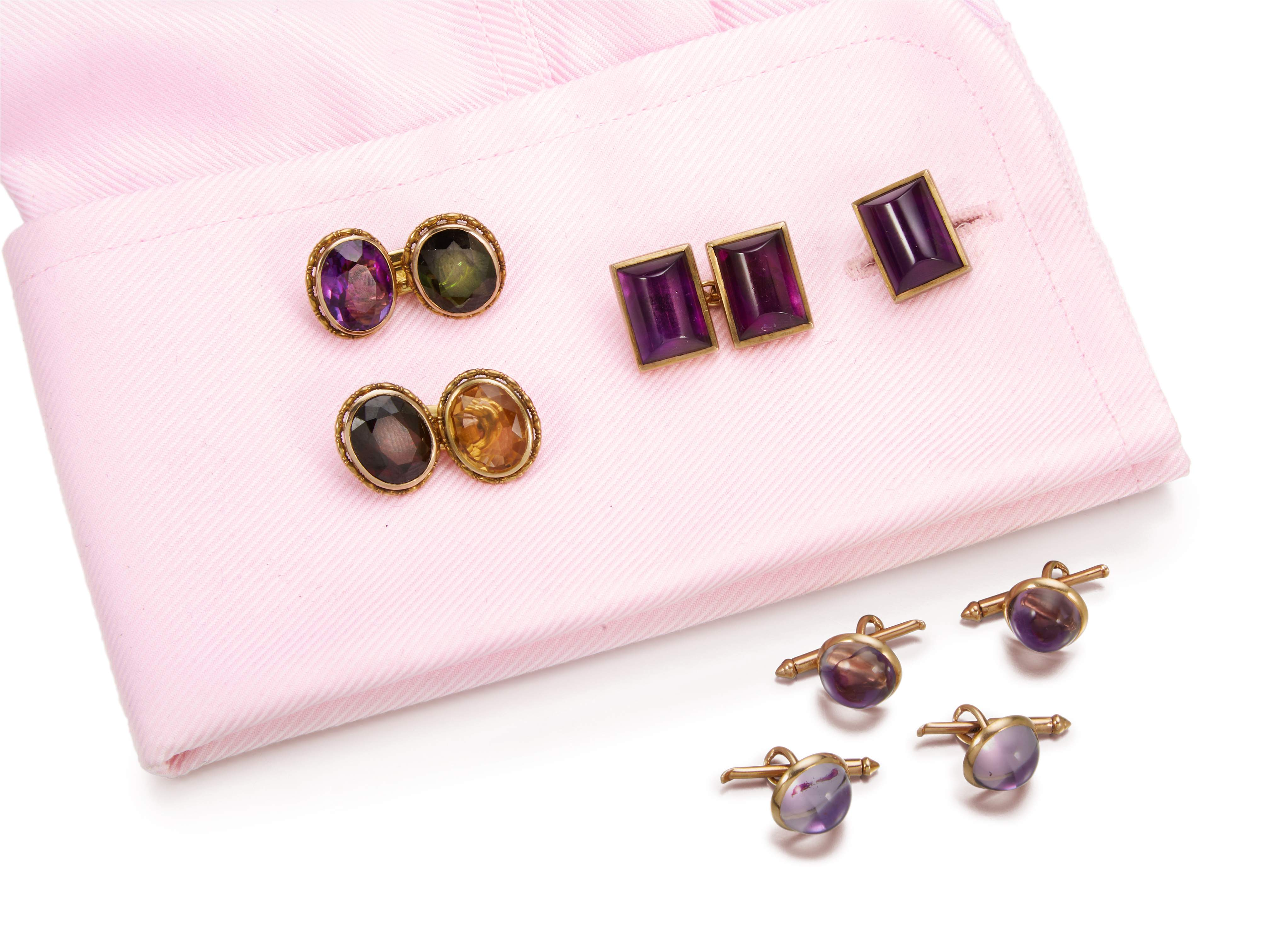 TWO PAIRS OF GEM SET CUFFLINKS AND FOUR DRESS STUDS