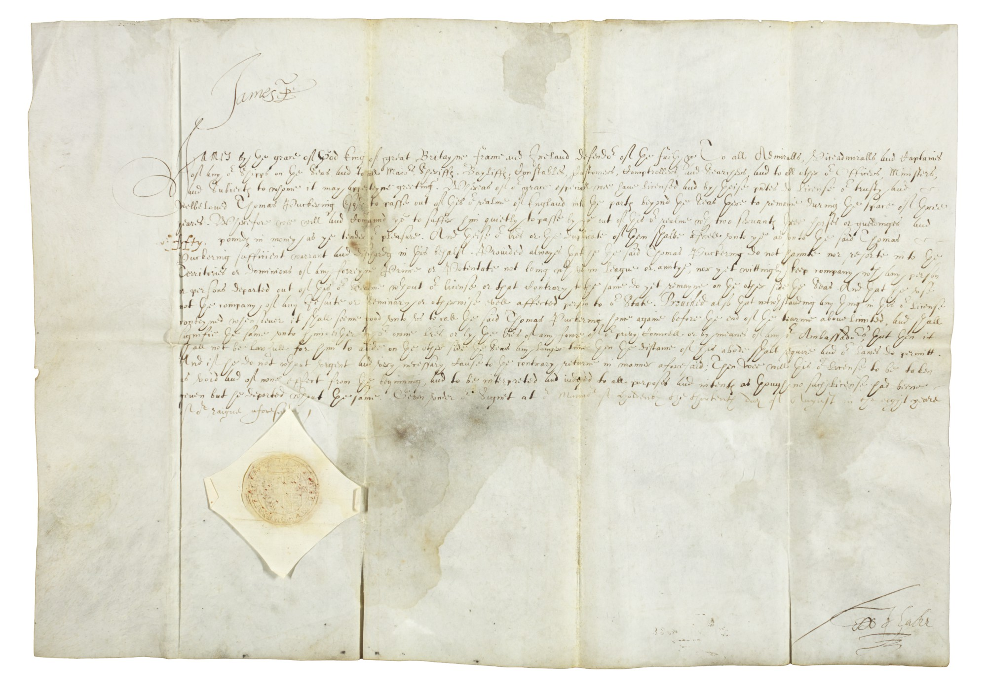 King James I, document signed, 1610 | English Literature