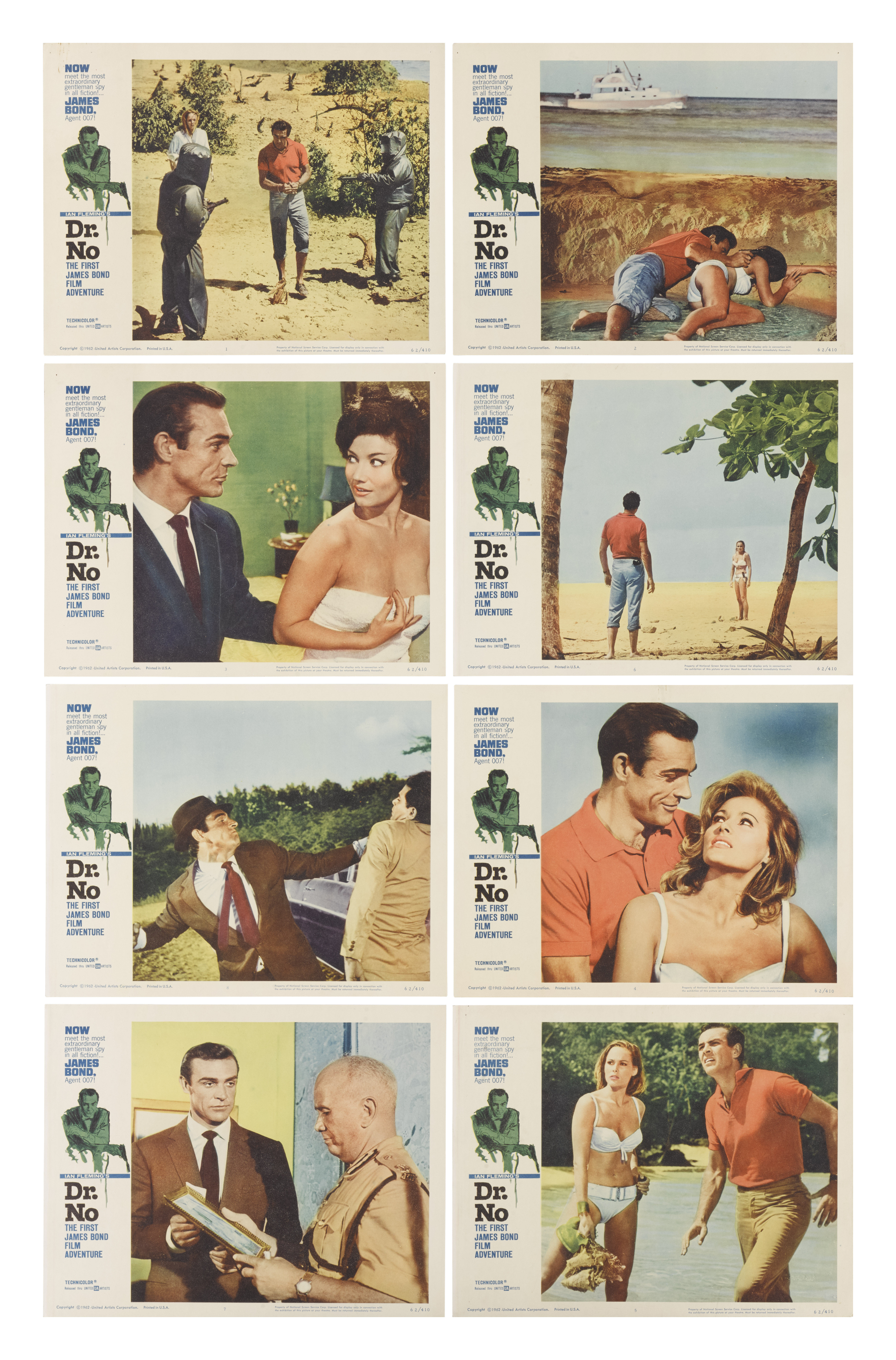 DR. NO (1962) SET OF 8 LOBBY CARDS, US