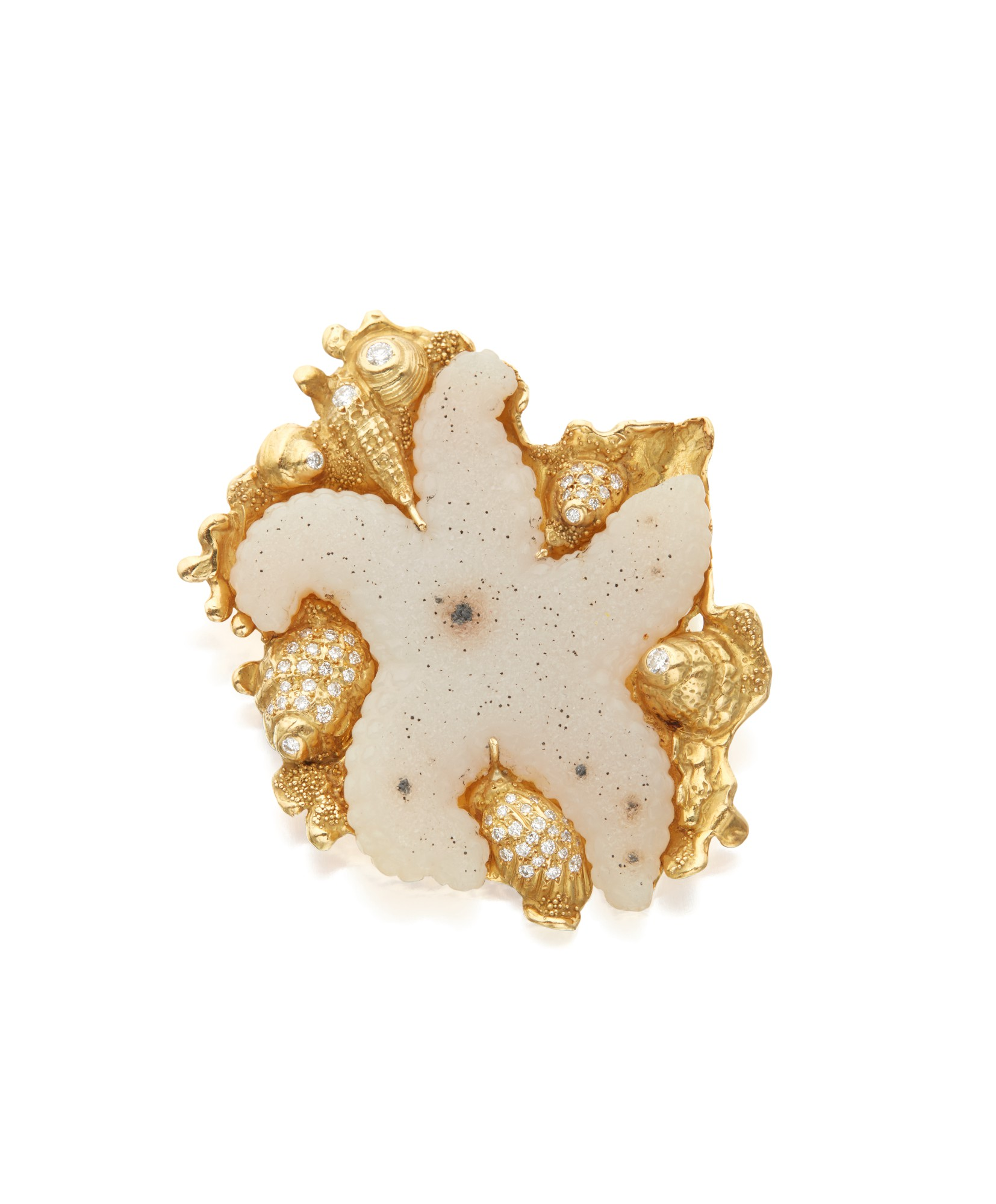 DRUSY QUARTZ AND DIAMOND BROOCH, ELIZABETH GAGE