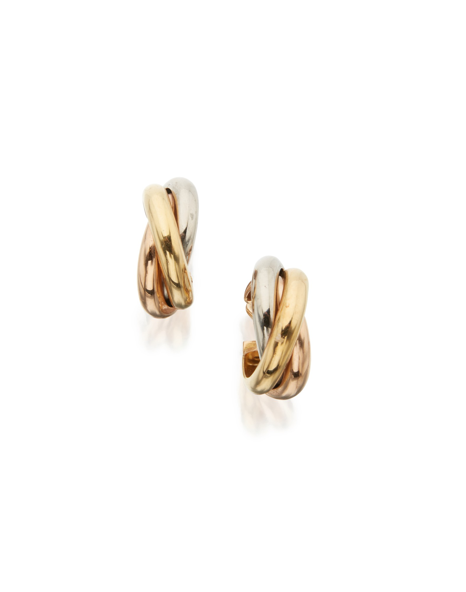 THREE-COLOR GOLD 'TRINITY' EARCLIPS, CARTIER, FRANCE