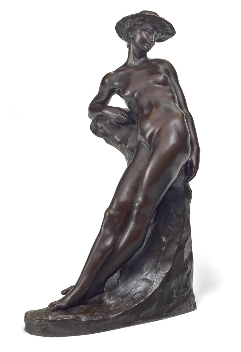 VICTOR ROUSSEAU | FEMME AU ROCHER (NUDE WOMAN IN A HAT)