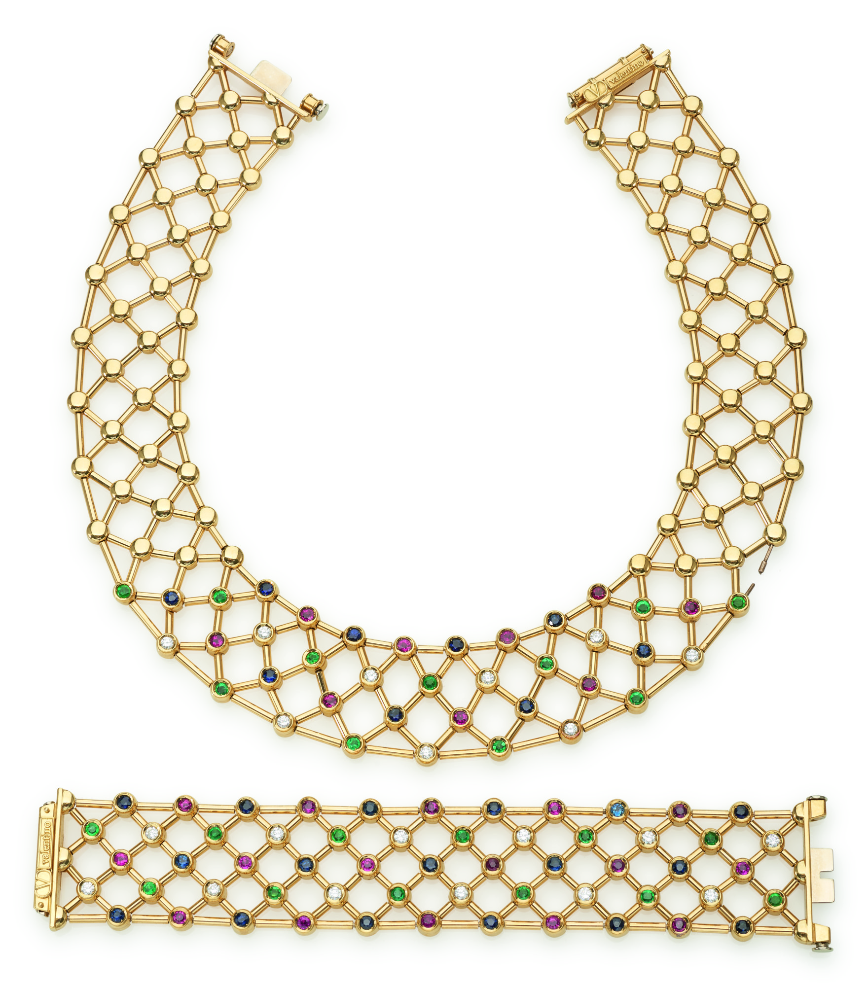 RUBY, EMERALD, SAPPHIRE AND DIAMOND NECKLACE AND BRACELET (COLLANA E BRACCIALE IN RUBINI, SMERALDI, ZAFFIRI E DIAMANTI), VALENTINO