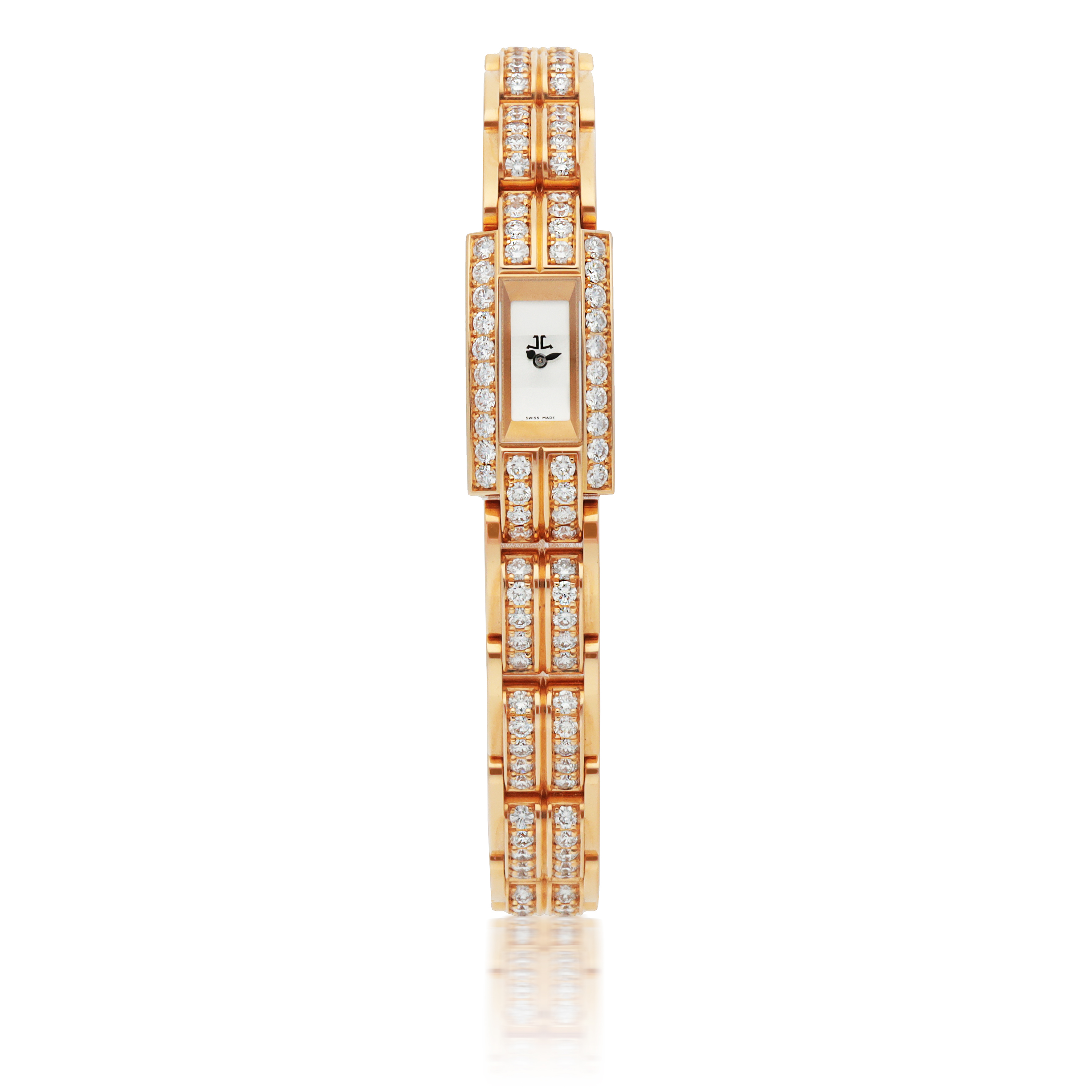 View full screen - View 1 of Lot 563. JAEGER-LECOULTRE | REF 285.2.70, PINK GOLD AND DIAMOND-SET BRACELET WATCH   CIRCA 2012.