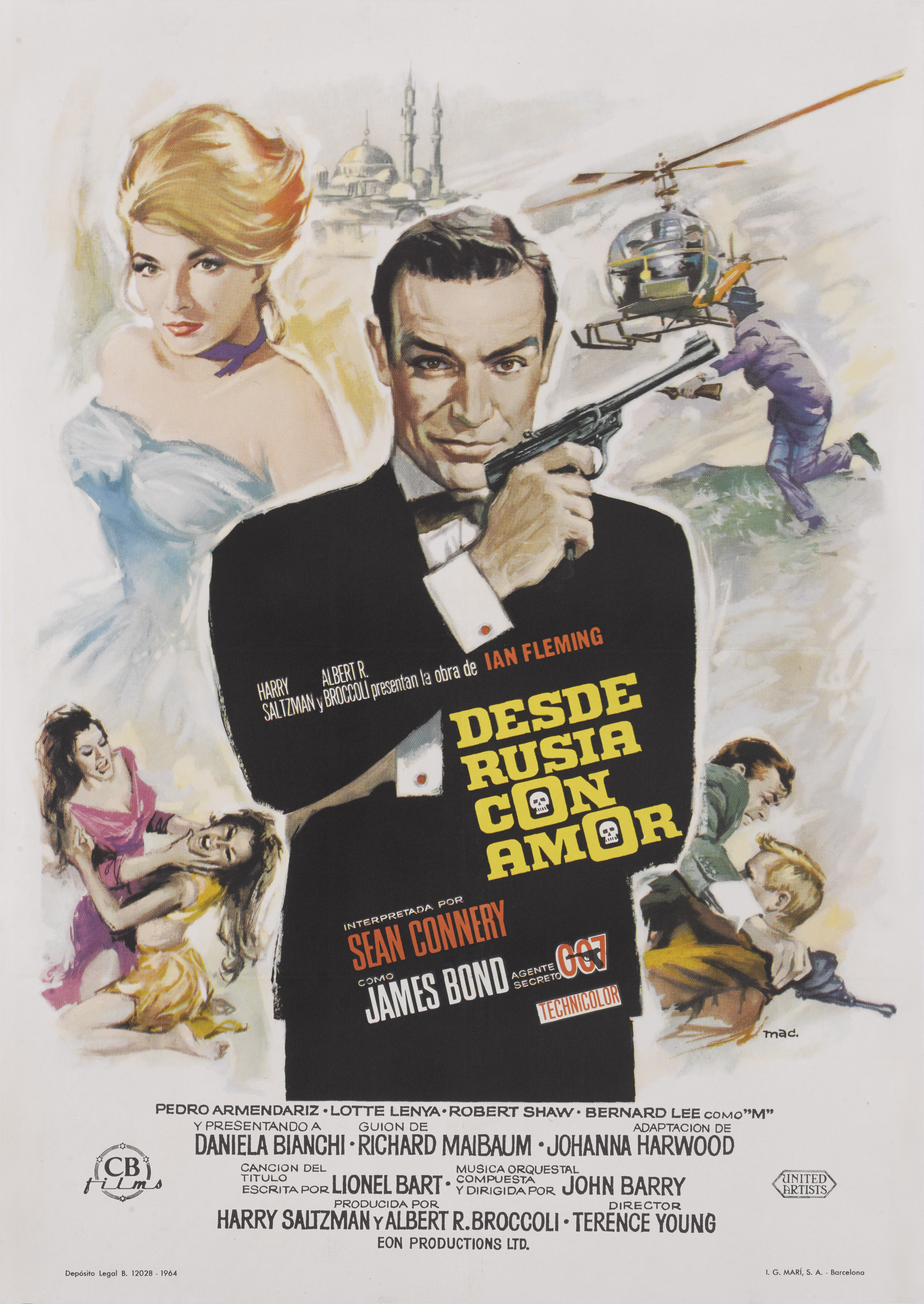 View full screen - View 1 of Lot 21. FROM RUSSIA WITH LOVE / DESDE RUSIA CON AMOR (1963) POSTER, SPANISH, FIRST SPANISH RELEASE 1964.
